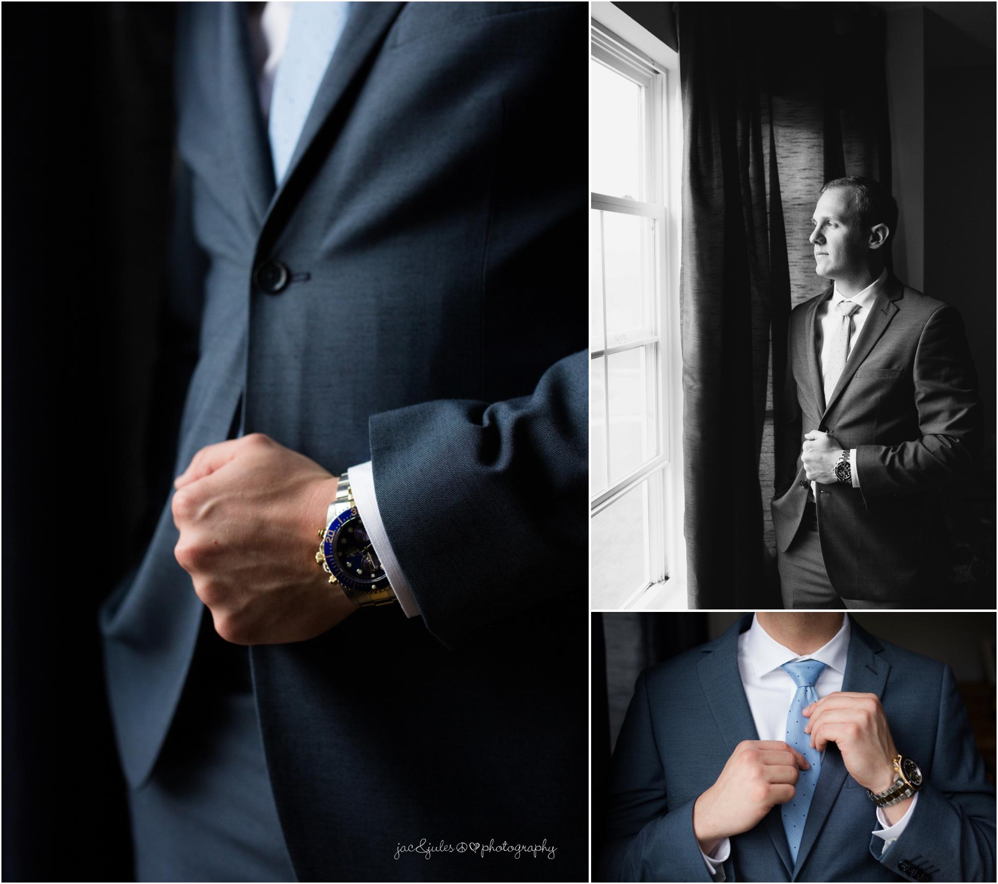 groom details in moody side lighting