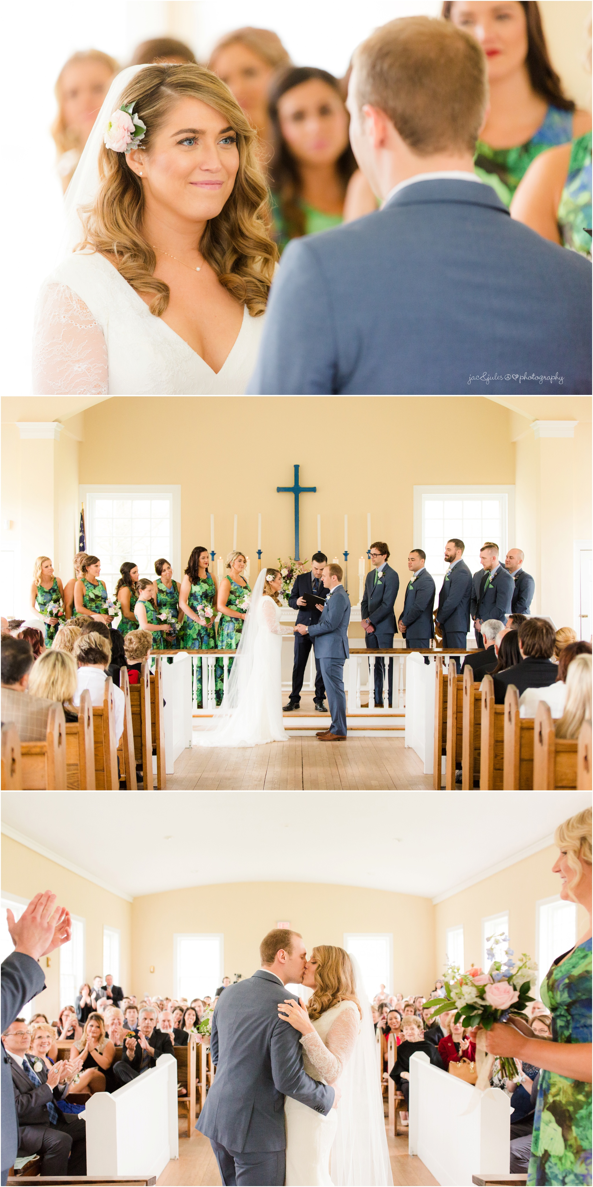 wedding ceremony at the chapel at allaire state park.