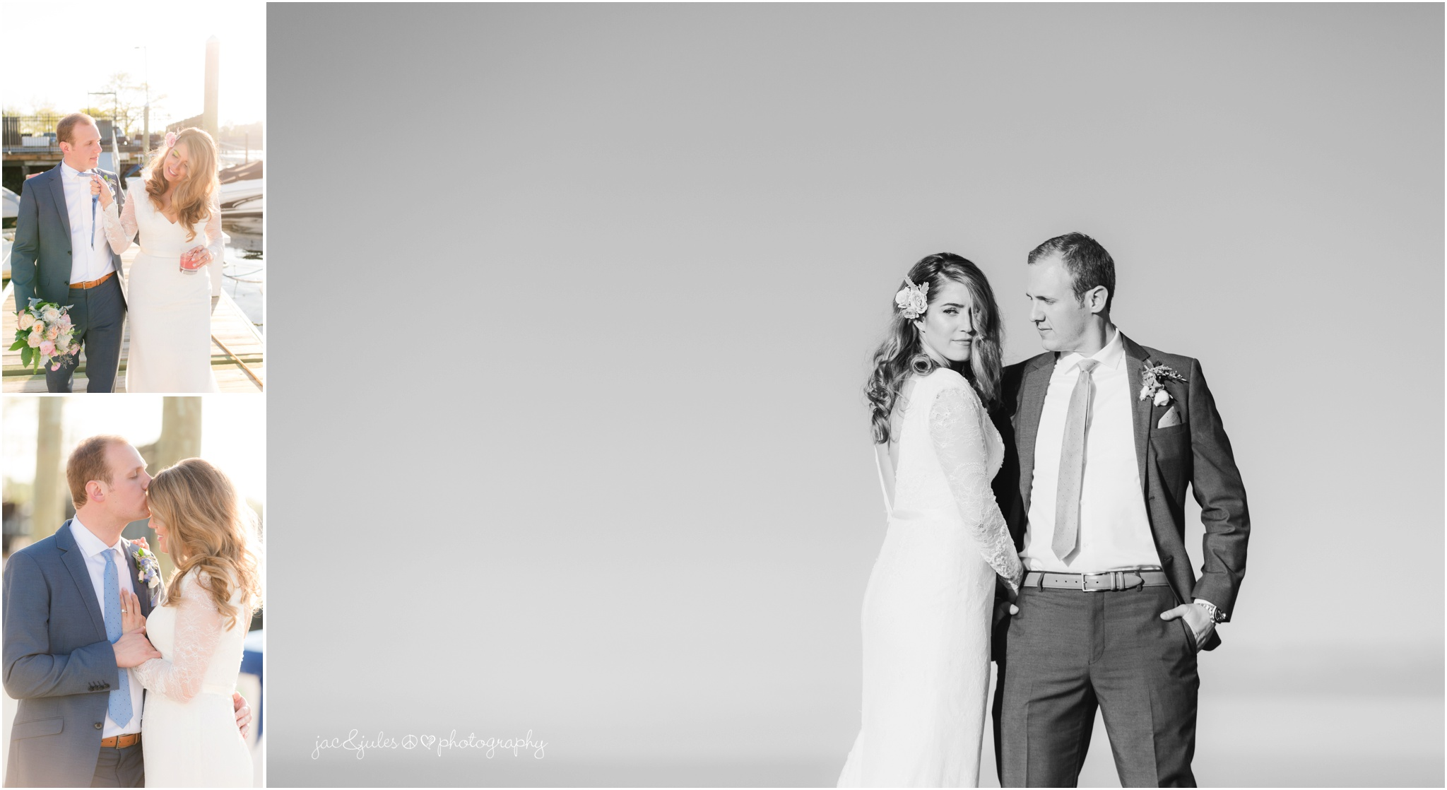 cool photos of bride and groom on dock