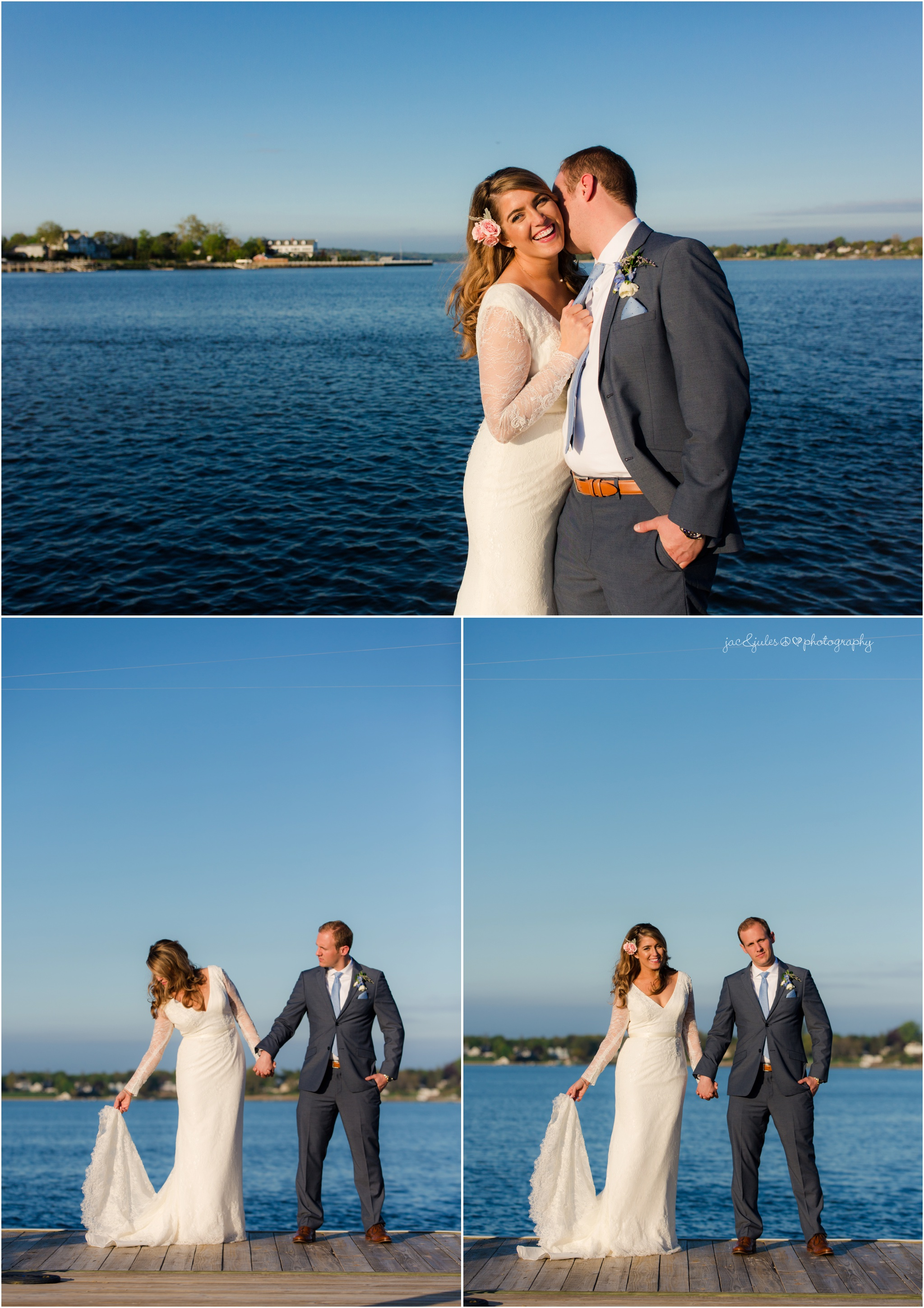 bride and groom on dock with navasink river