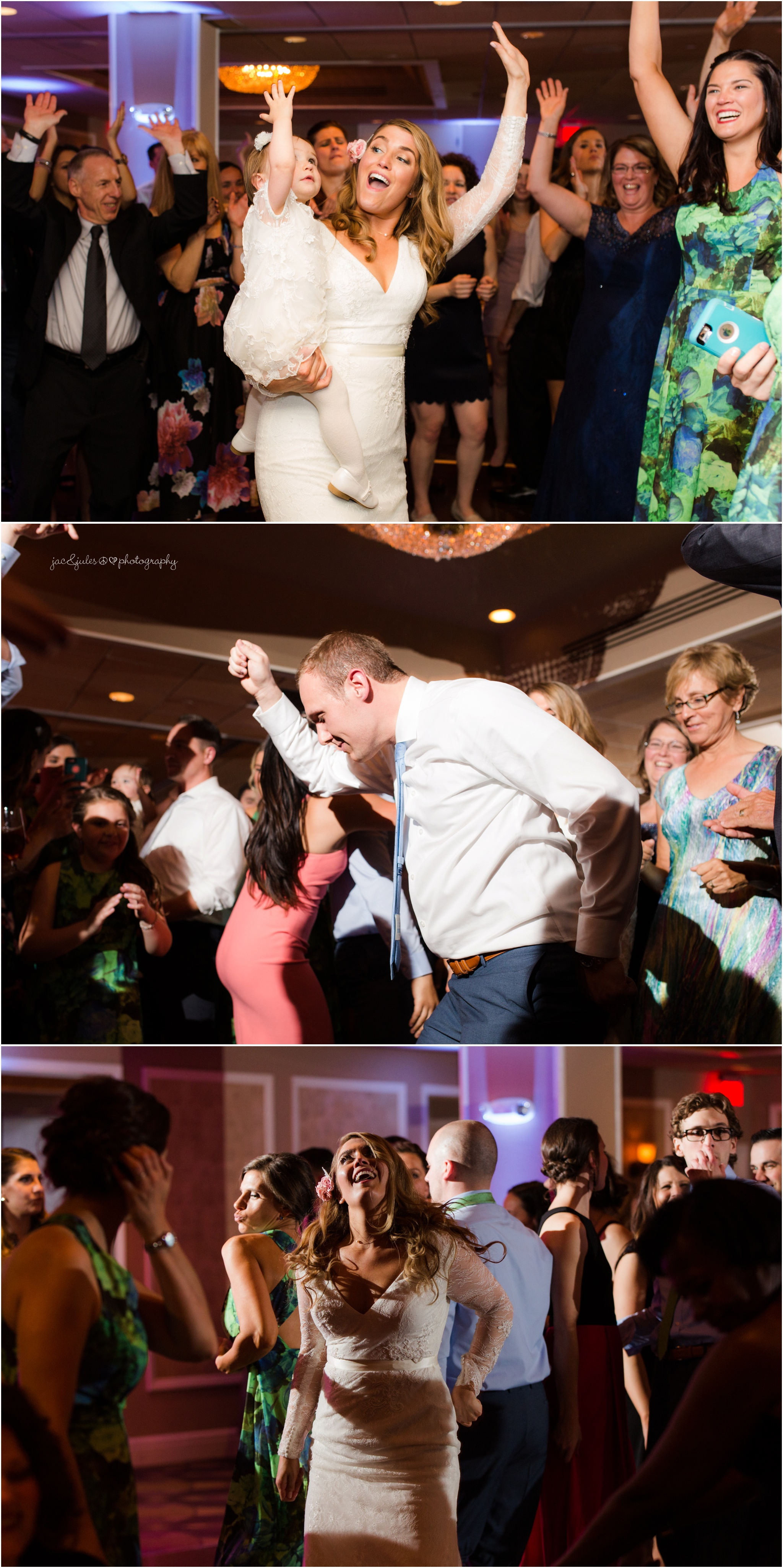 fun dancing photos from wedding at oyster point hotel in redbank, nj.