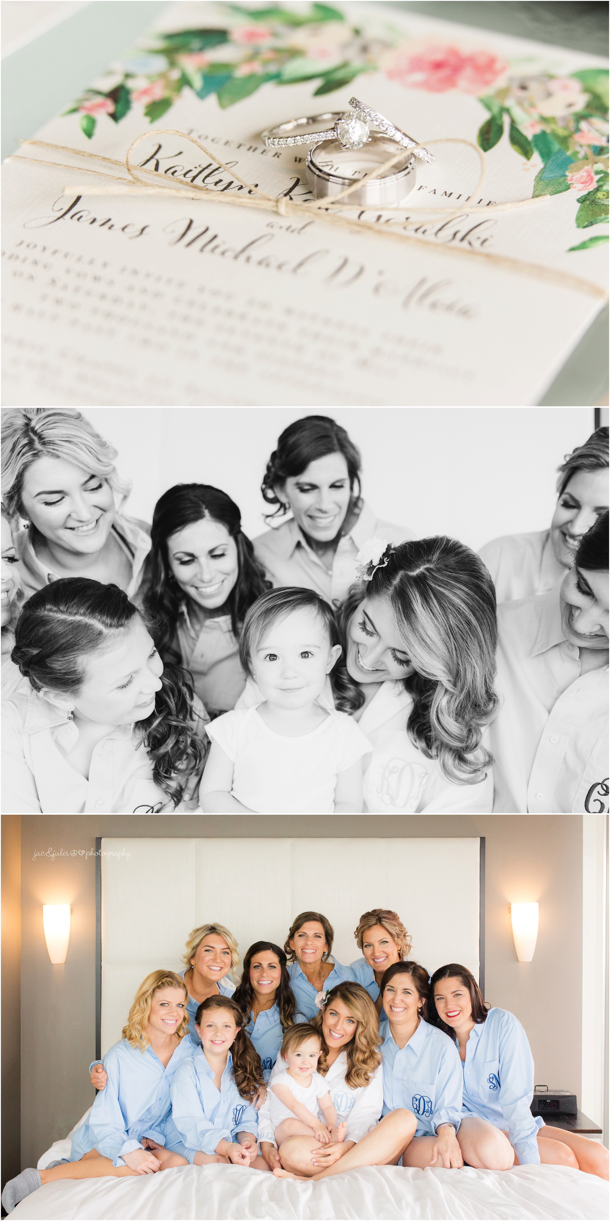 bride and her girls in bed, wedding rings on invitation