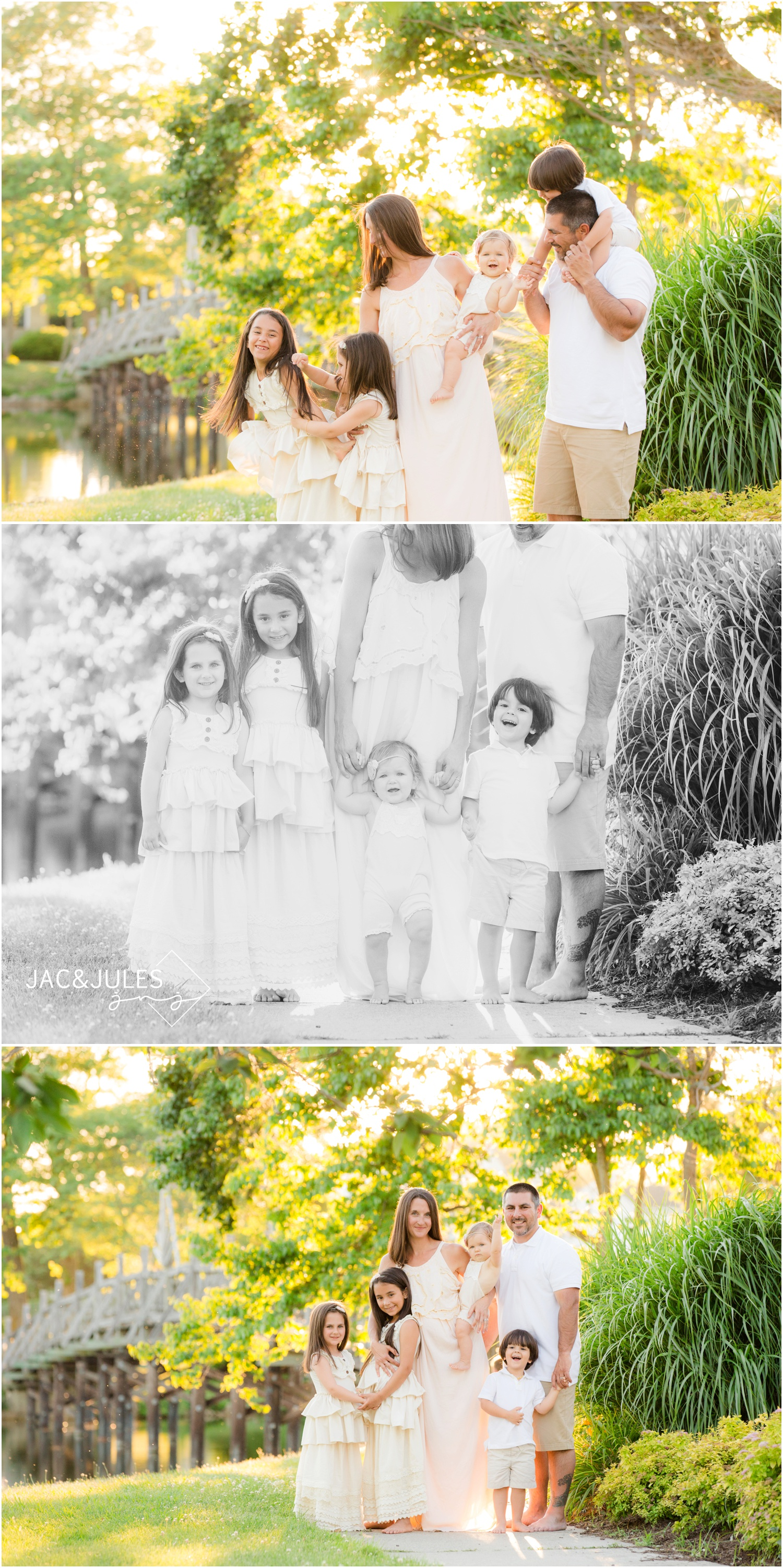 Candid and posed family photos at Divine Park in Spring Lake.