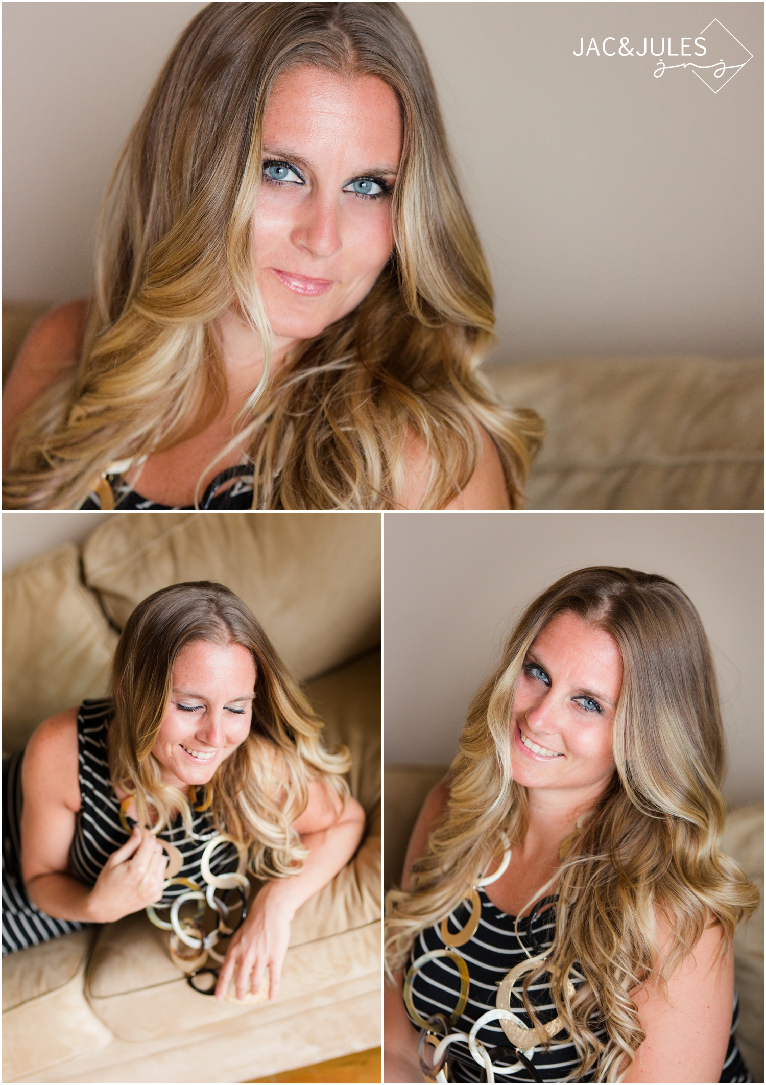 Business mentor headshot for Ciji Siddons at her oceanfront apartment in Point Pleasant Beach, NJ.