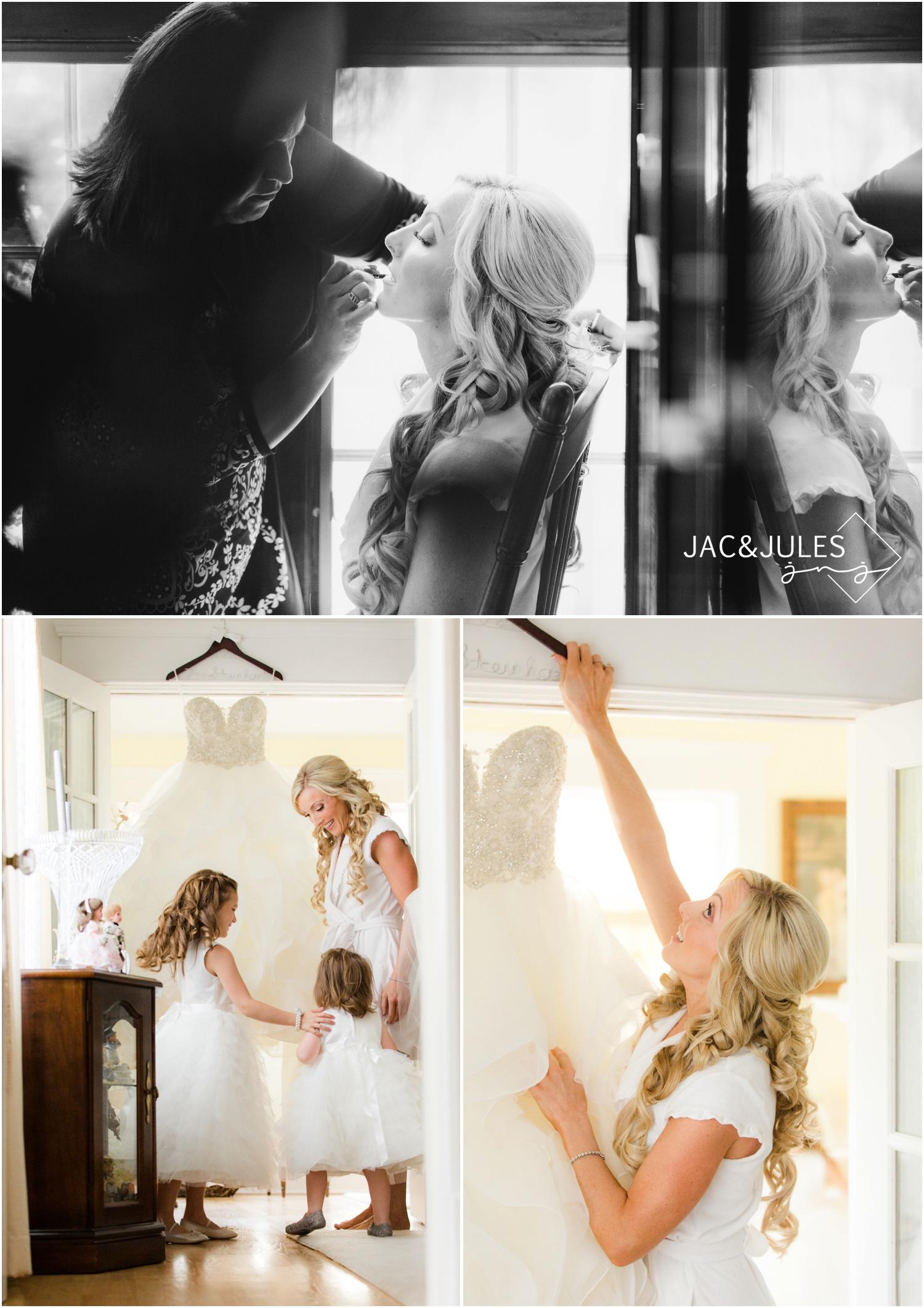 flower girls with bridal gown at bride prep in Metuchen, NJ