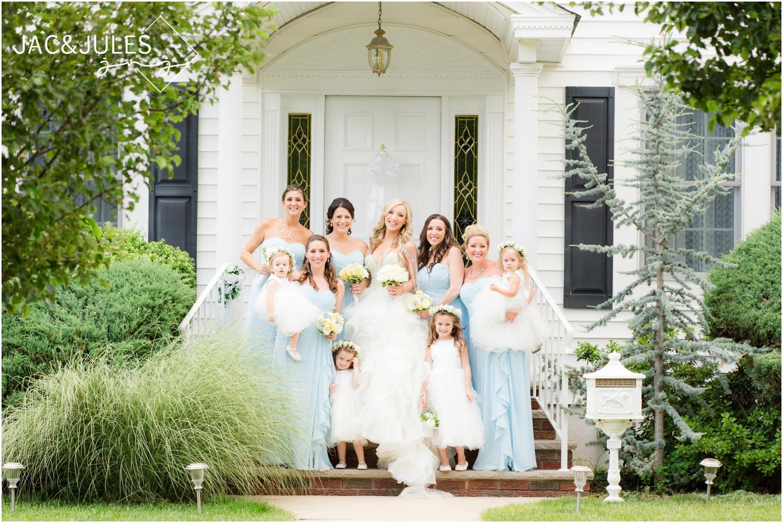 bridesmaids and flower girls on front porch in Metuchen, NJ.