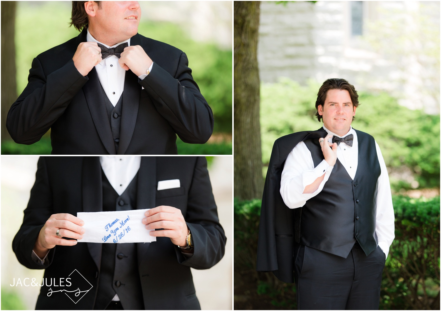Groom details and personalized handkerchief at St. Francis in Metuchen.