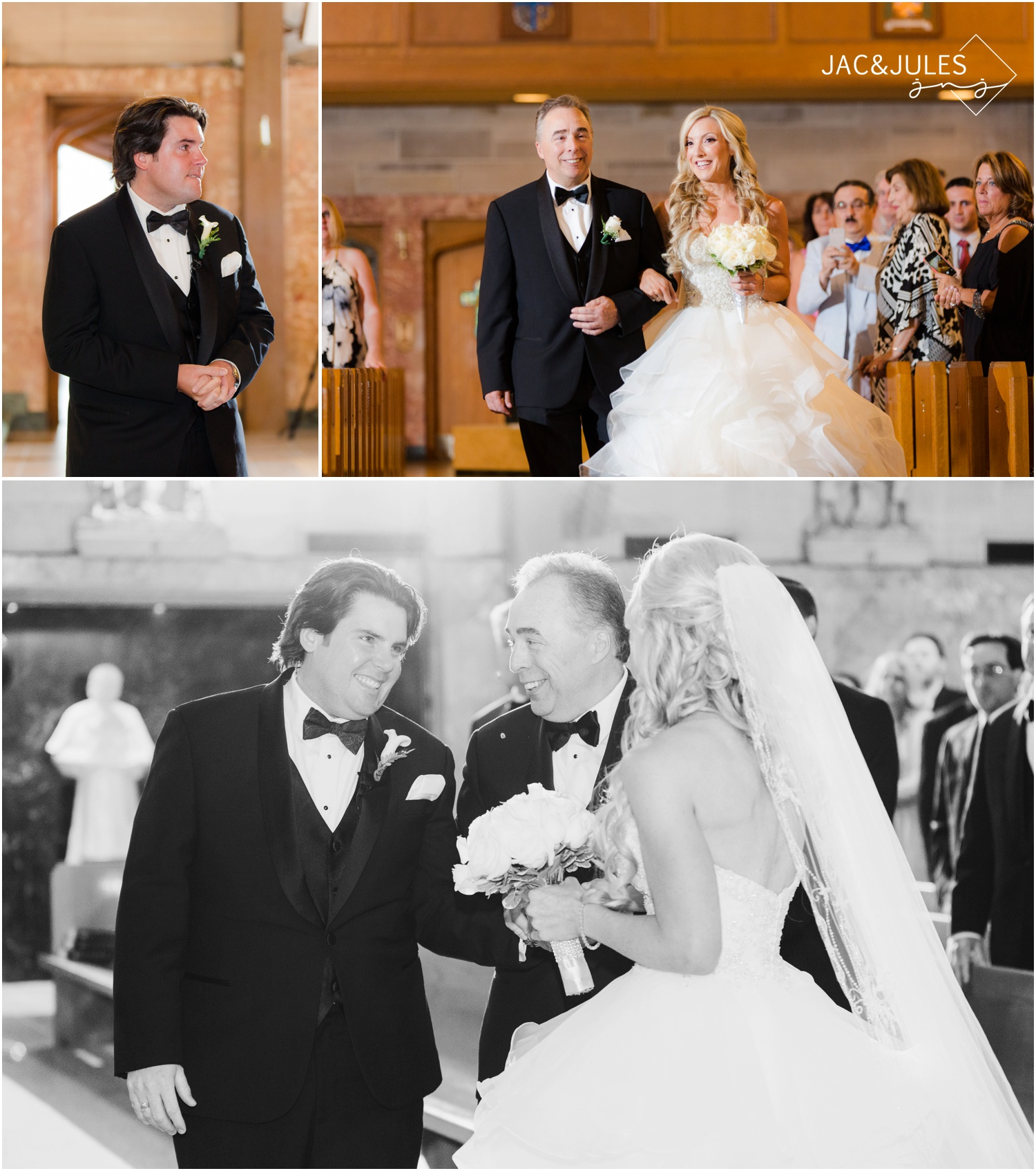 Emotional groom at wedding ceremony at St. Francis in Metuchen, NJ.