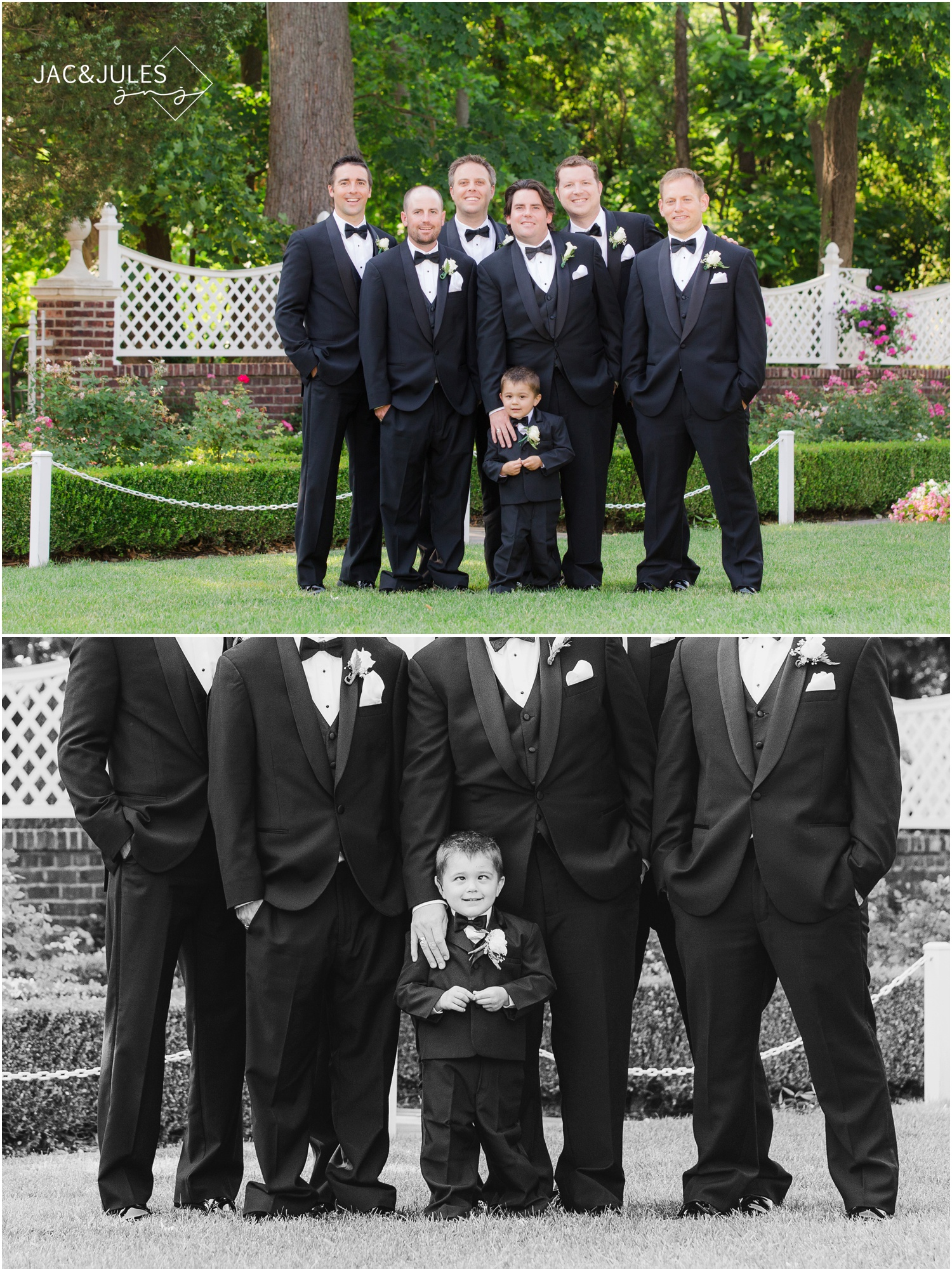 Groomsmen and ring bearer making funny face at The Shadowbrook in Shrewsbury, NJ.