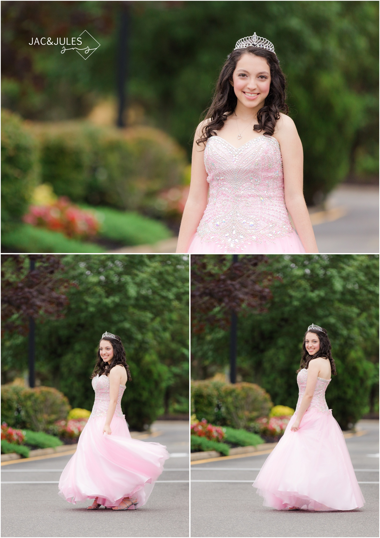sweet 16 girl twirling in pink ball gown.