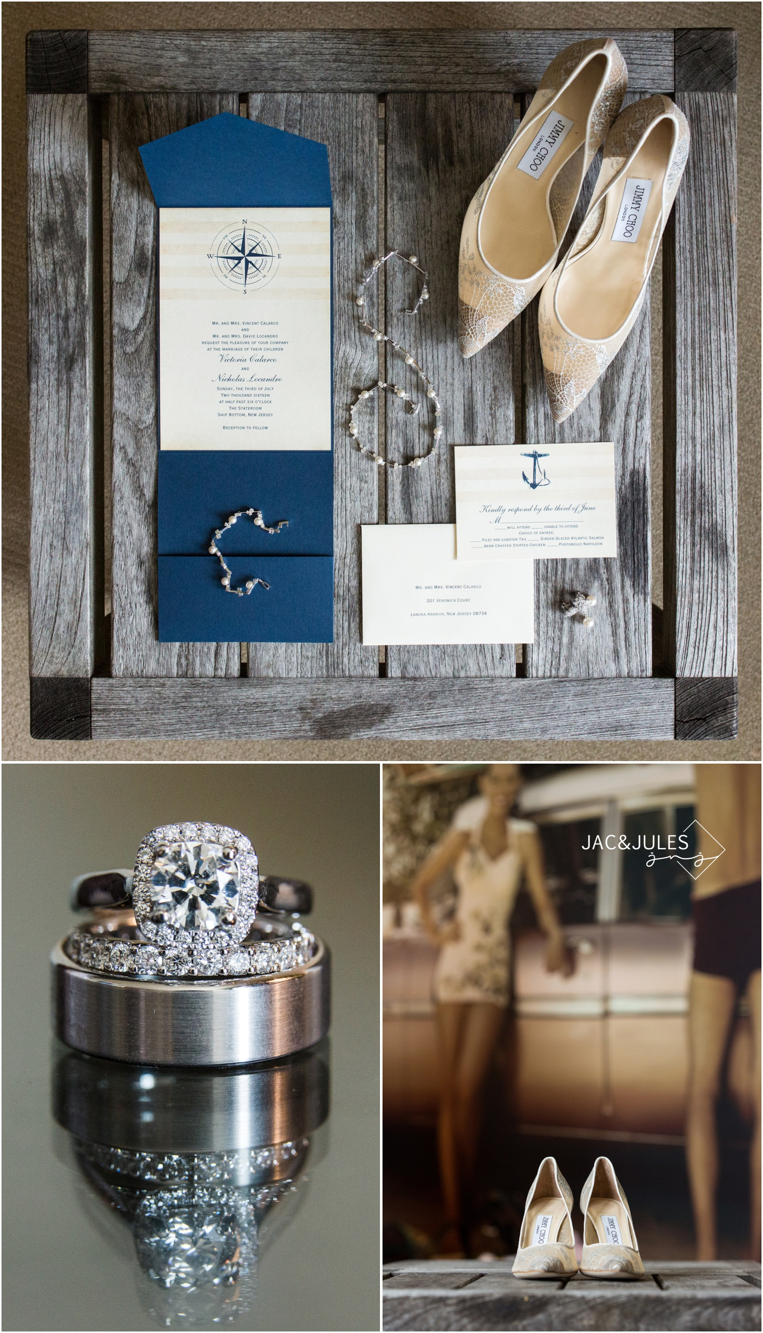 nautical wedding invitation, stationery, and jimmy choo shoes.