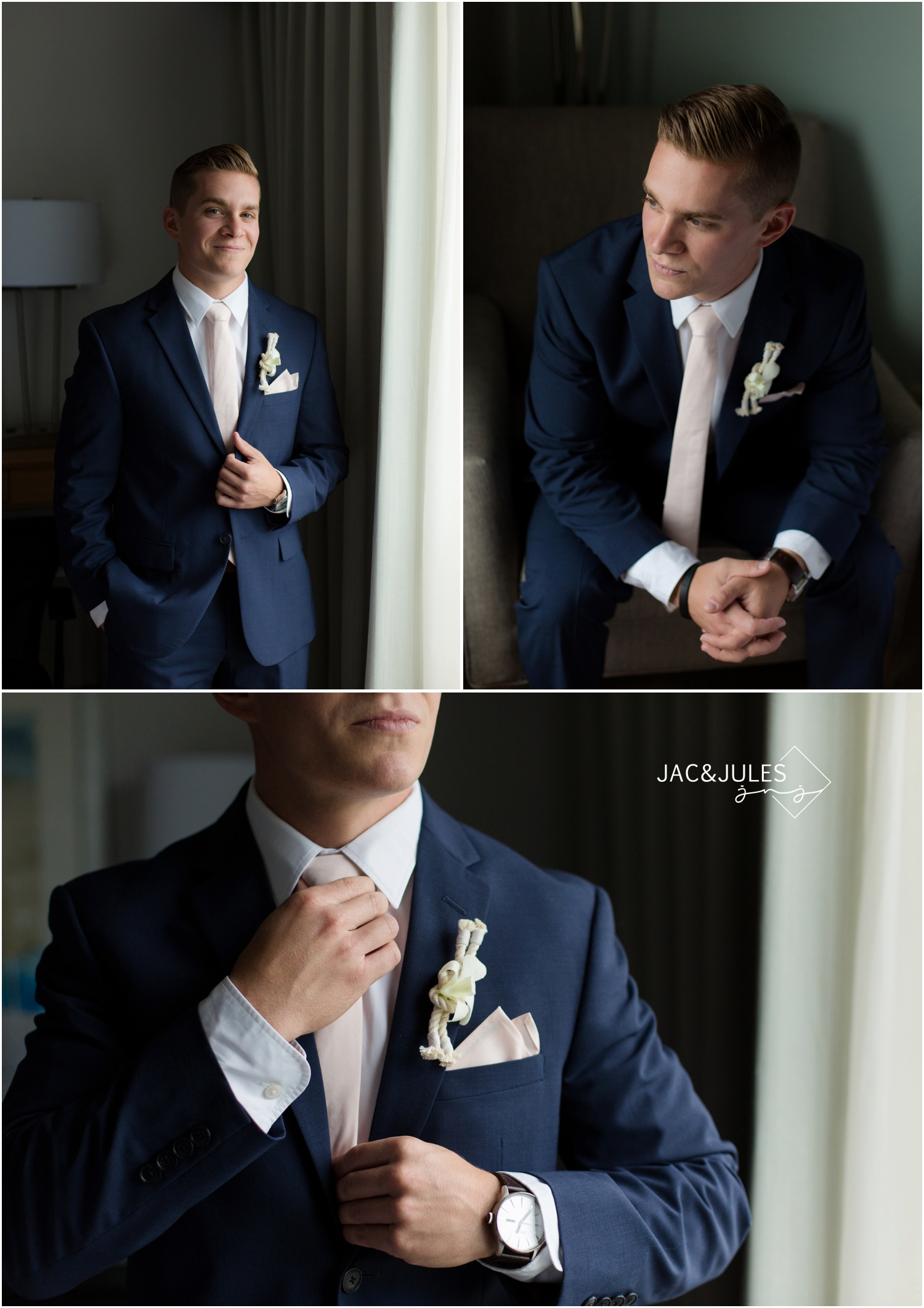 groom getting ready at Holiday Inn in Manahawkin, NJ