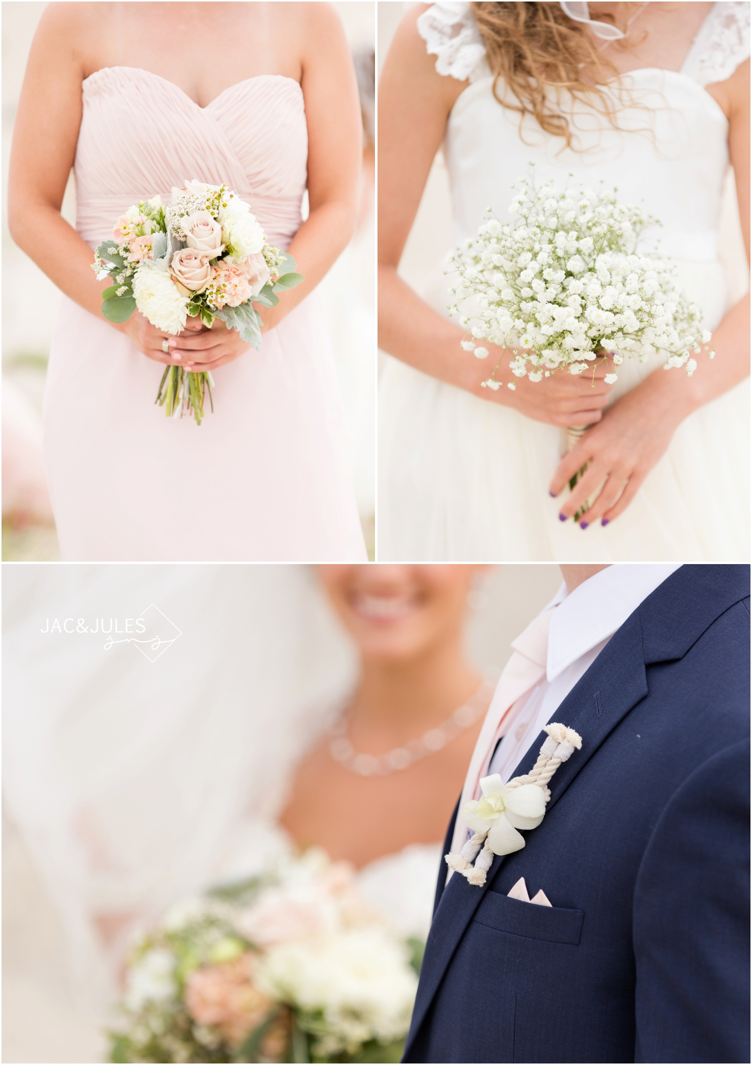 Bridesmaid and flower girl bouquets, groom's nautical boutineer