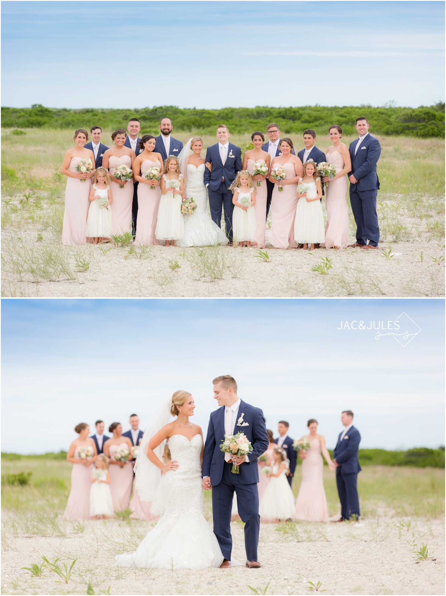 bridal party at Barnegat Lighthouse in LBI, NJ for wedding day photos on the beach.