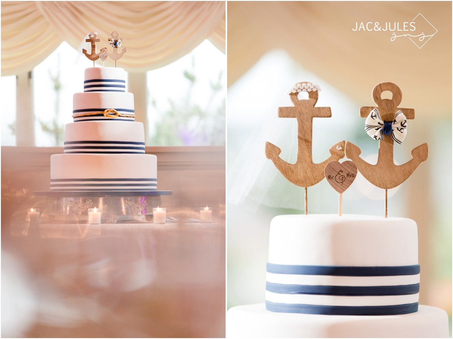 Nautical wedding cake by Carlo's Bakery at The Stateroom in LBI, NJ