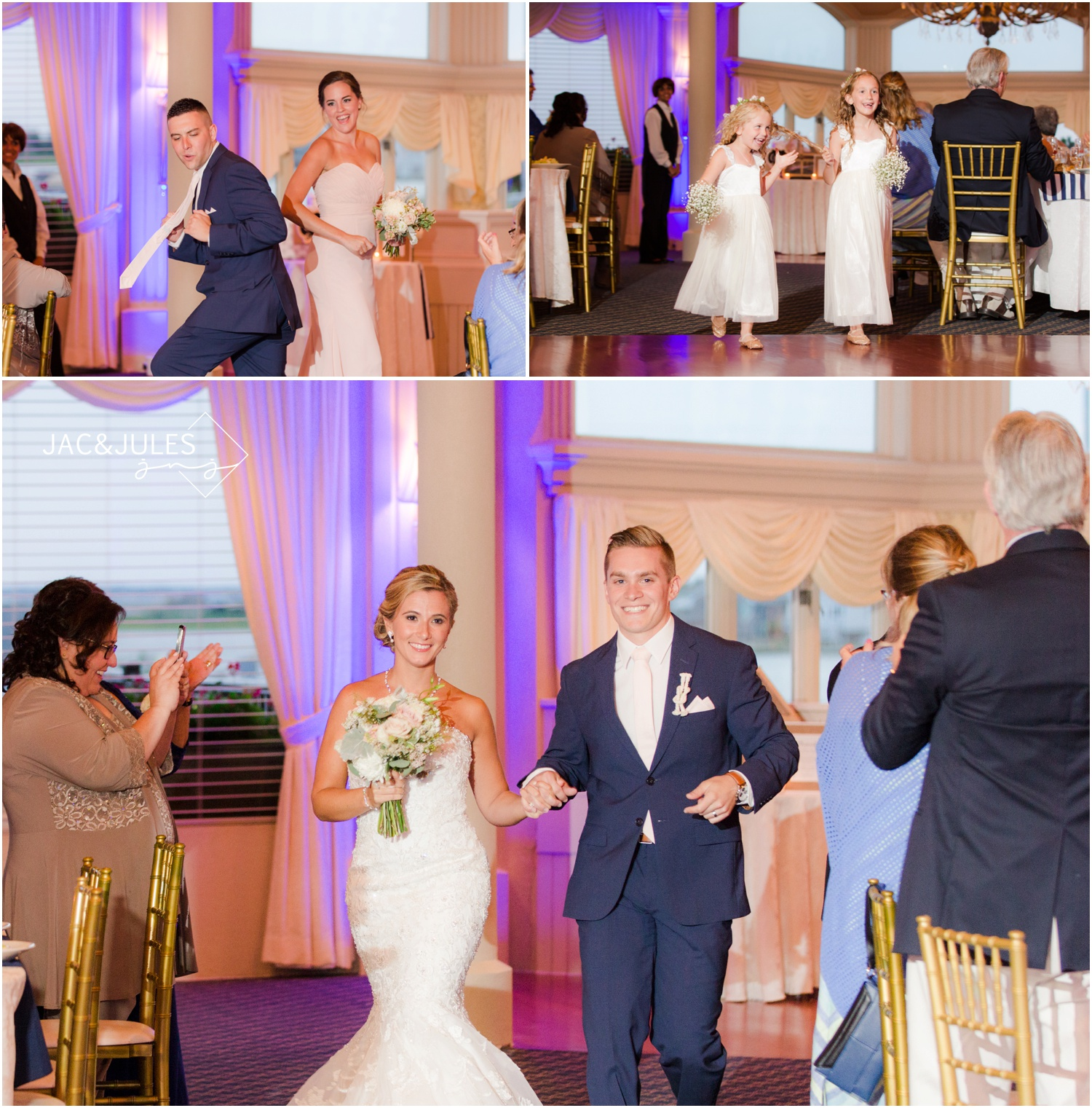 Reception entrances with pretty purple uplighting by SCE Event Group at The Stateroom in LBI, NJ