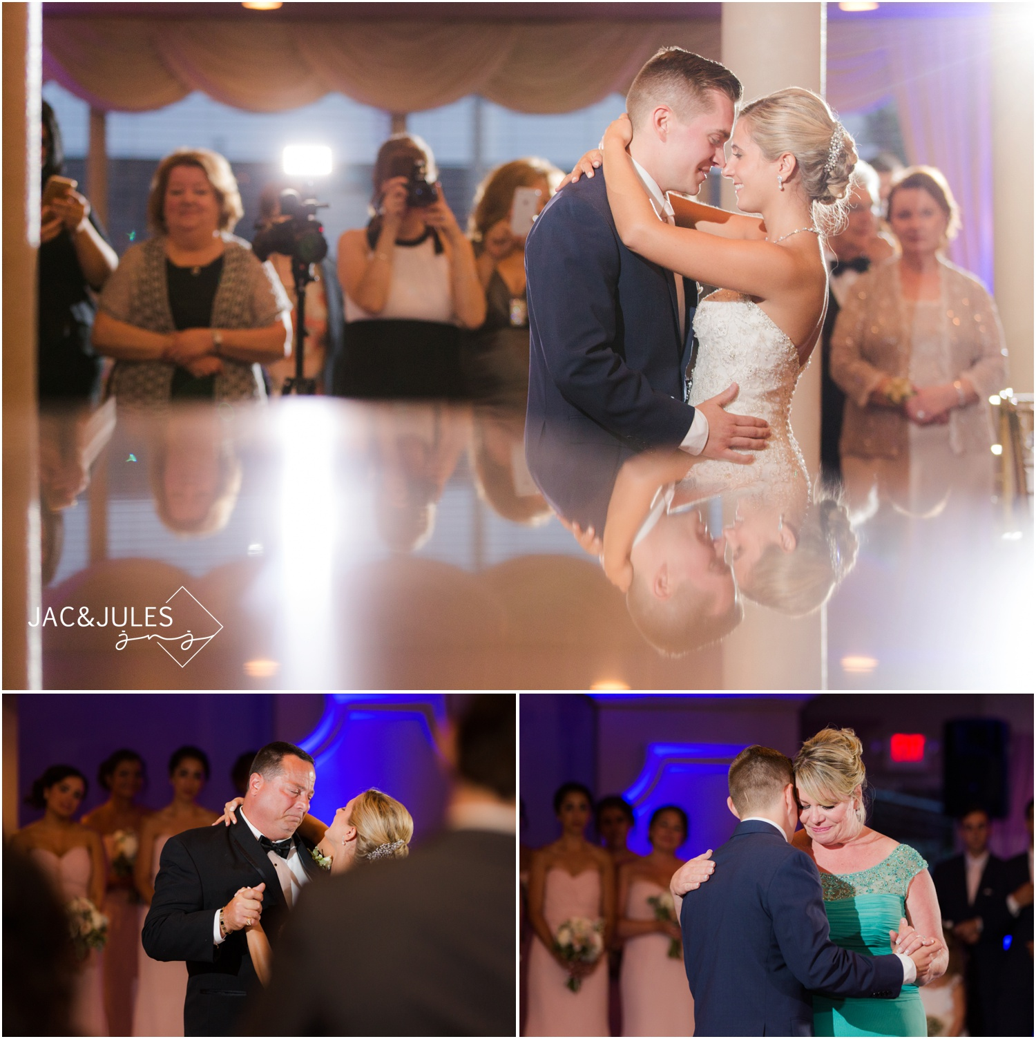 Bride and Groom first dance with pretty purple uplighting by SCE Event Group at The Stateroom in LBI, NJ