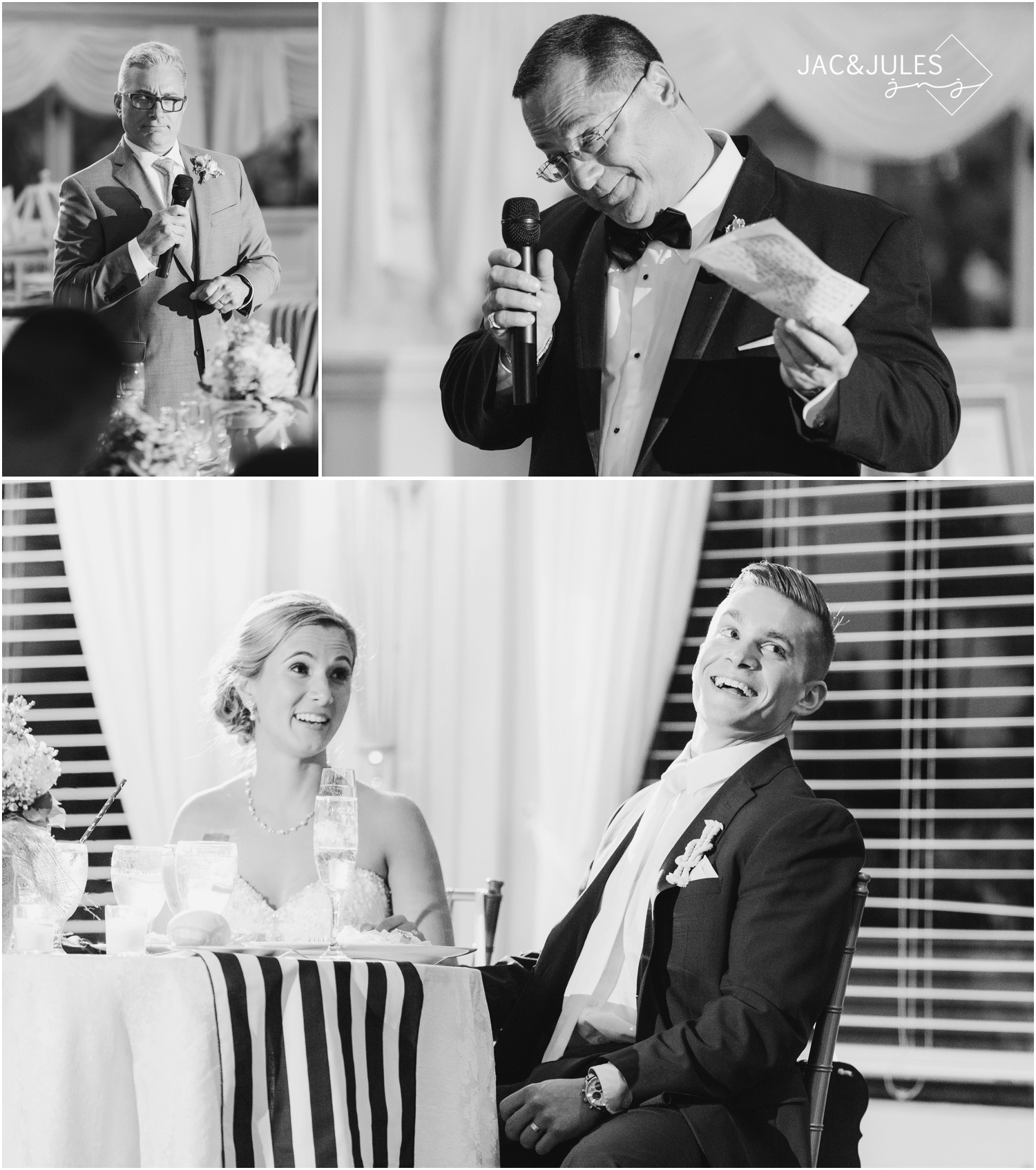 Fathers, Best Man, and Maid of Honor speeches at The Stateroom in LBI, NJ