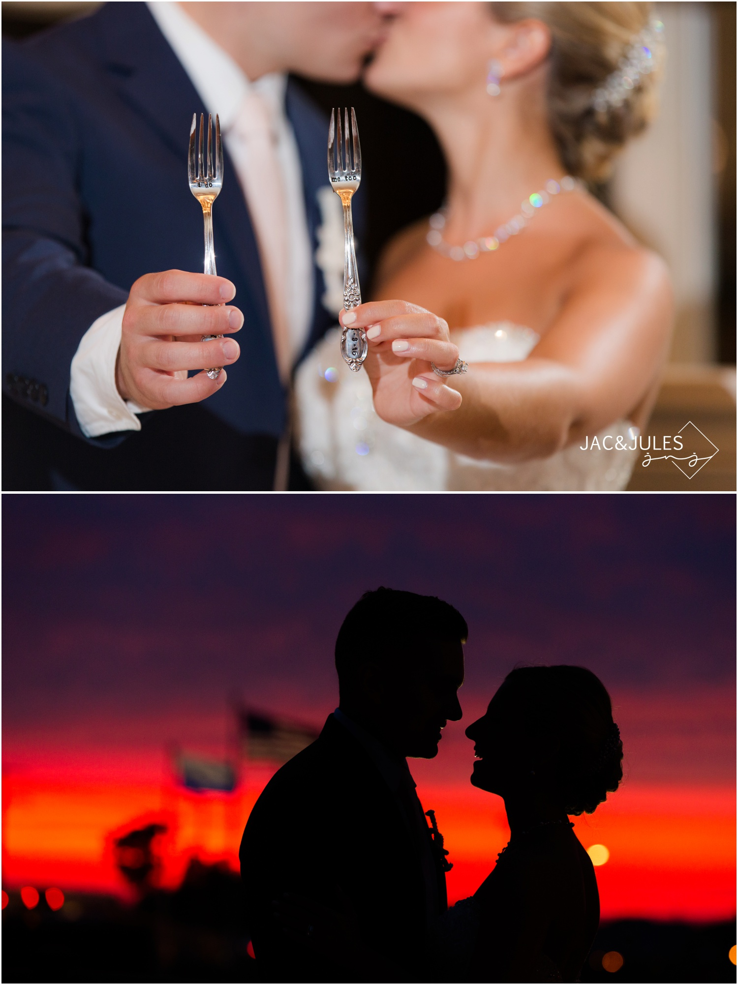 Personalized engraved wedding cake forks and a gorgeous sunset at The Stateroom in LBI, NJ