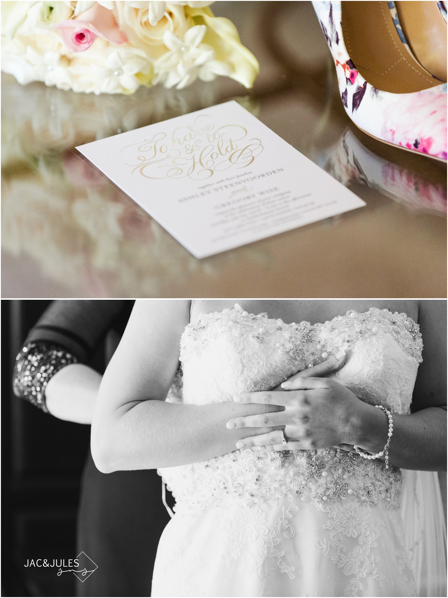 wedding invitation during bride prep