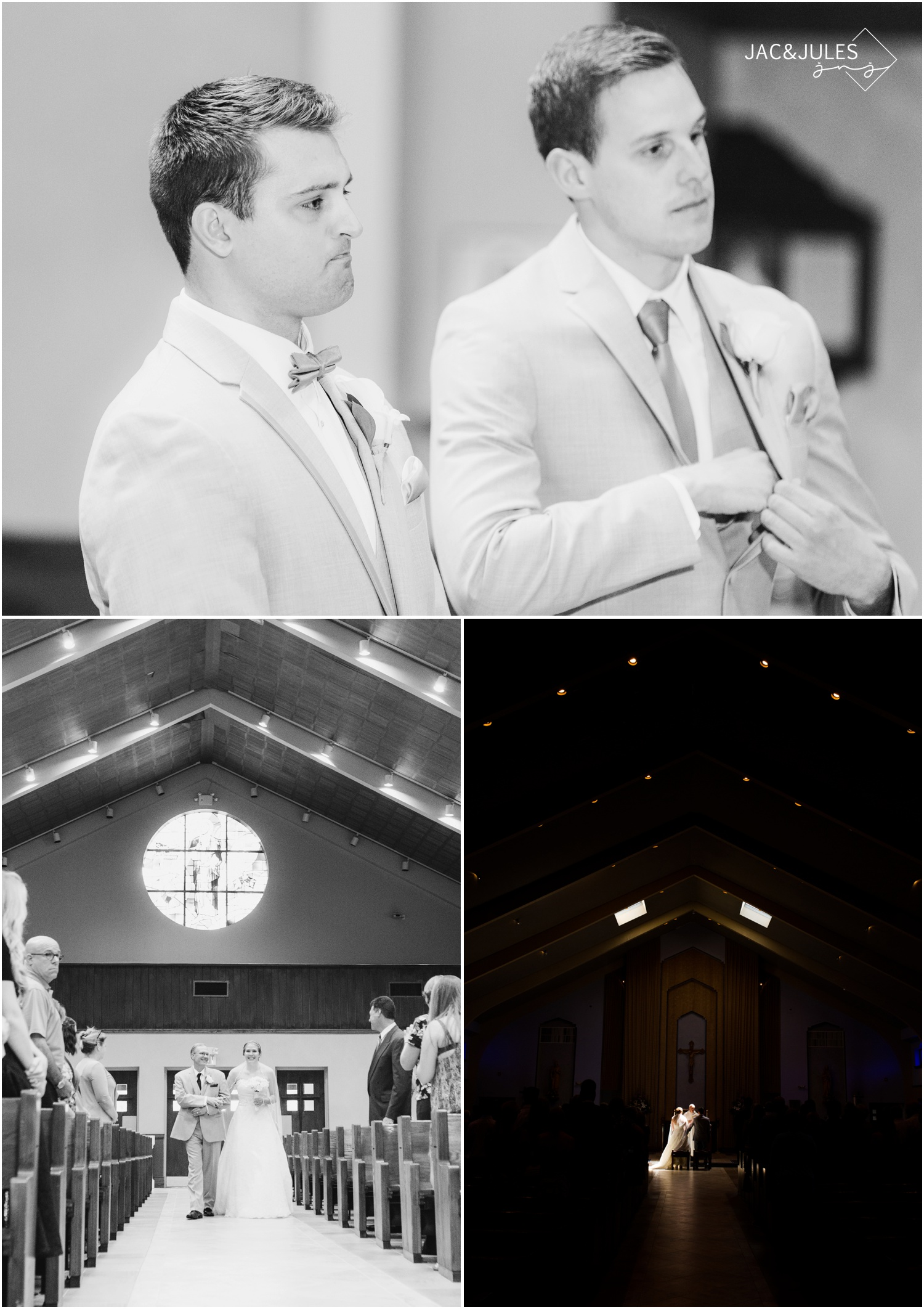 grooms reaction as bride walks down the aisle.  dramatic church wedding ceremony photo.