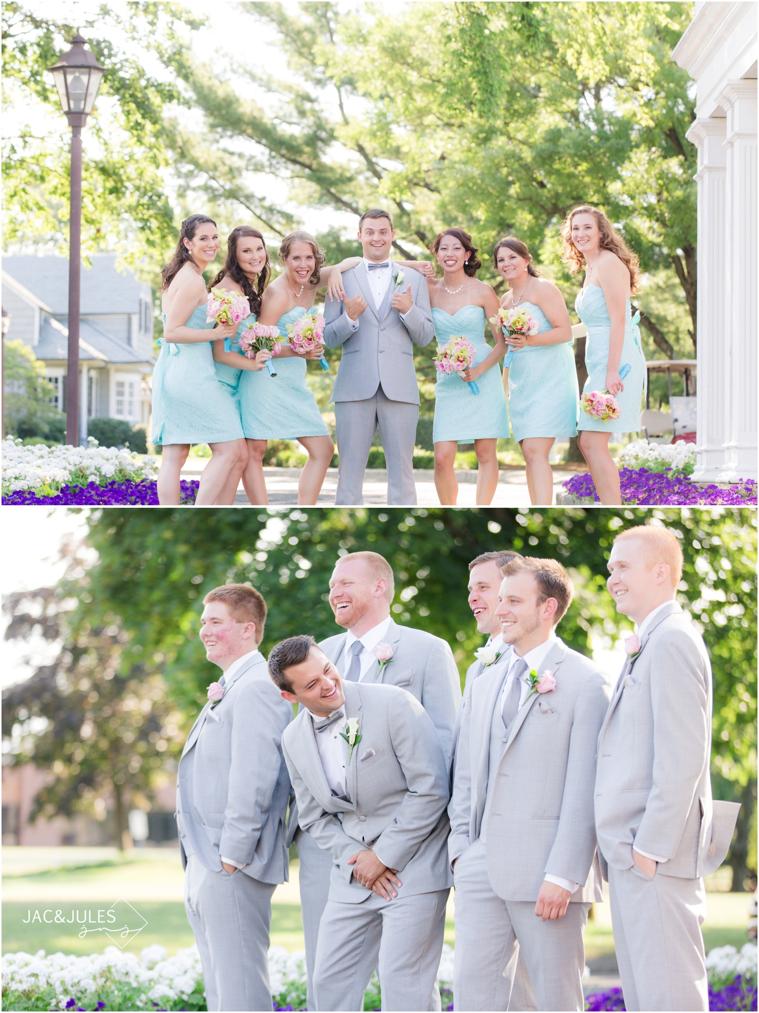 bridal party photos at forsgate country club in Monroe, NJ.