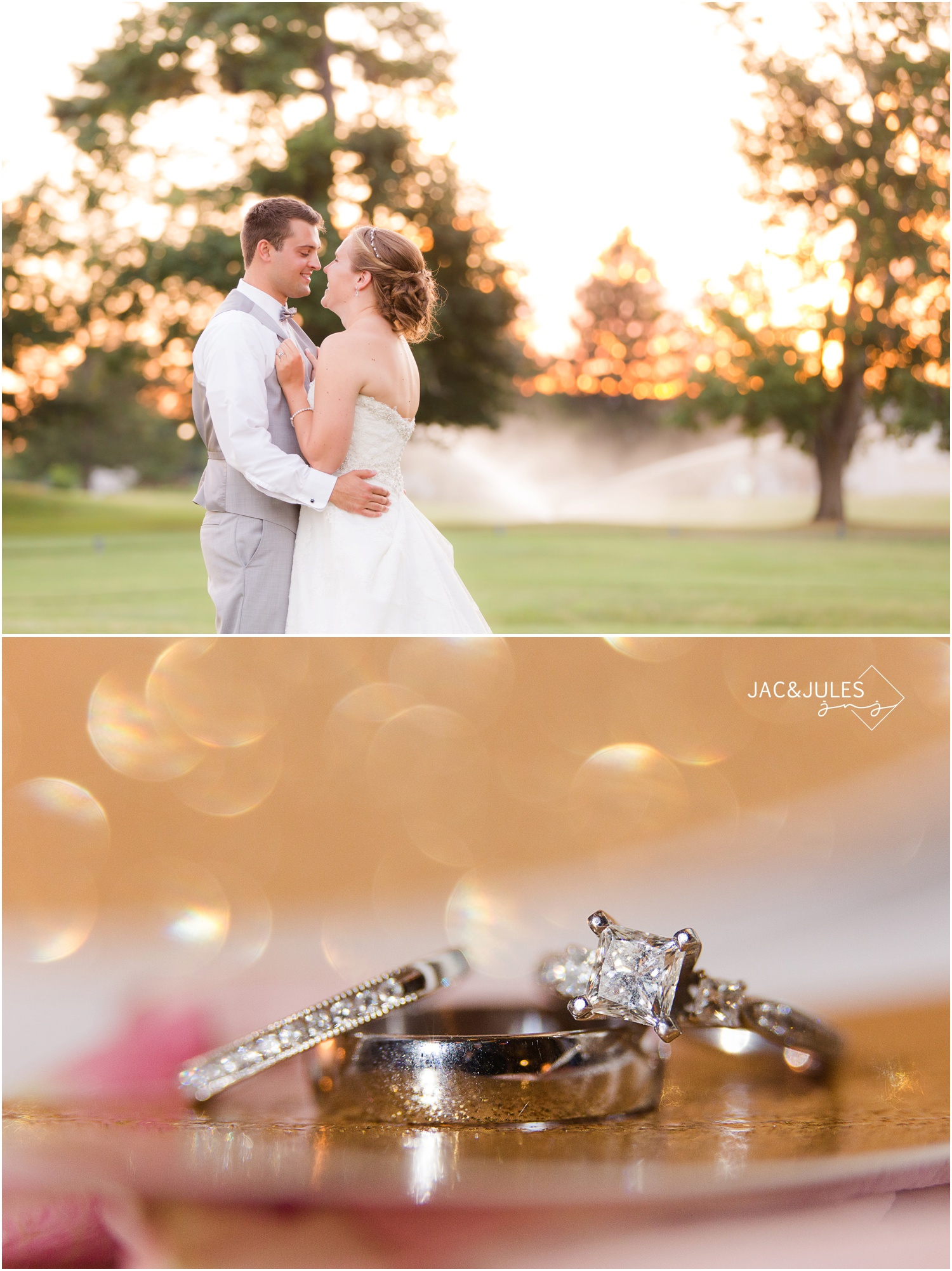 sunset and wedding rings at forsgate country club in Monroe, NJ.