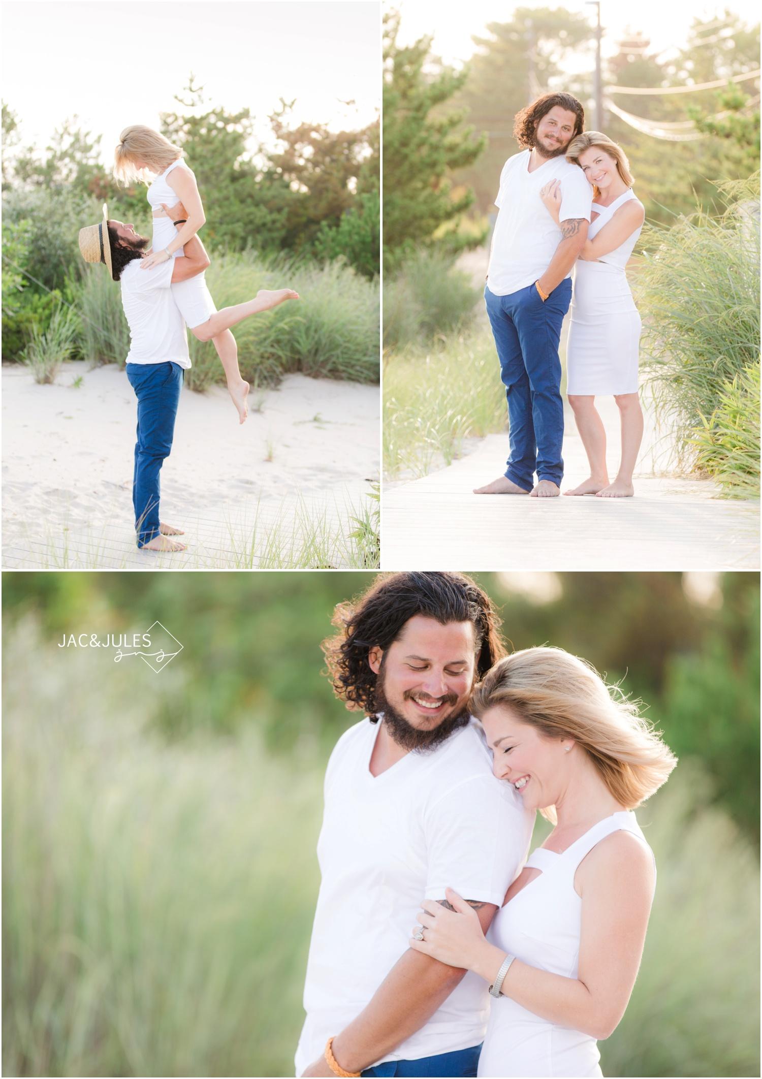 fun couple photos on the beach in Loveladies LBI