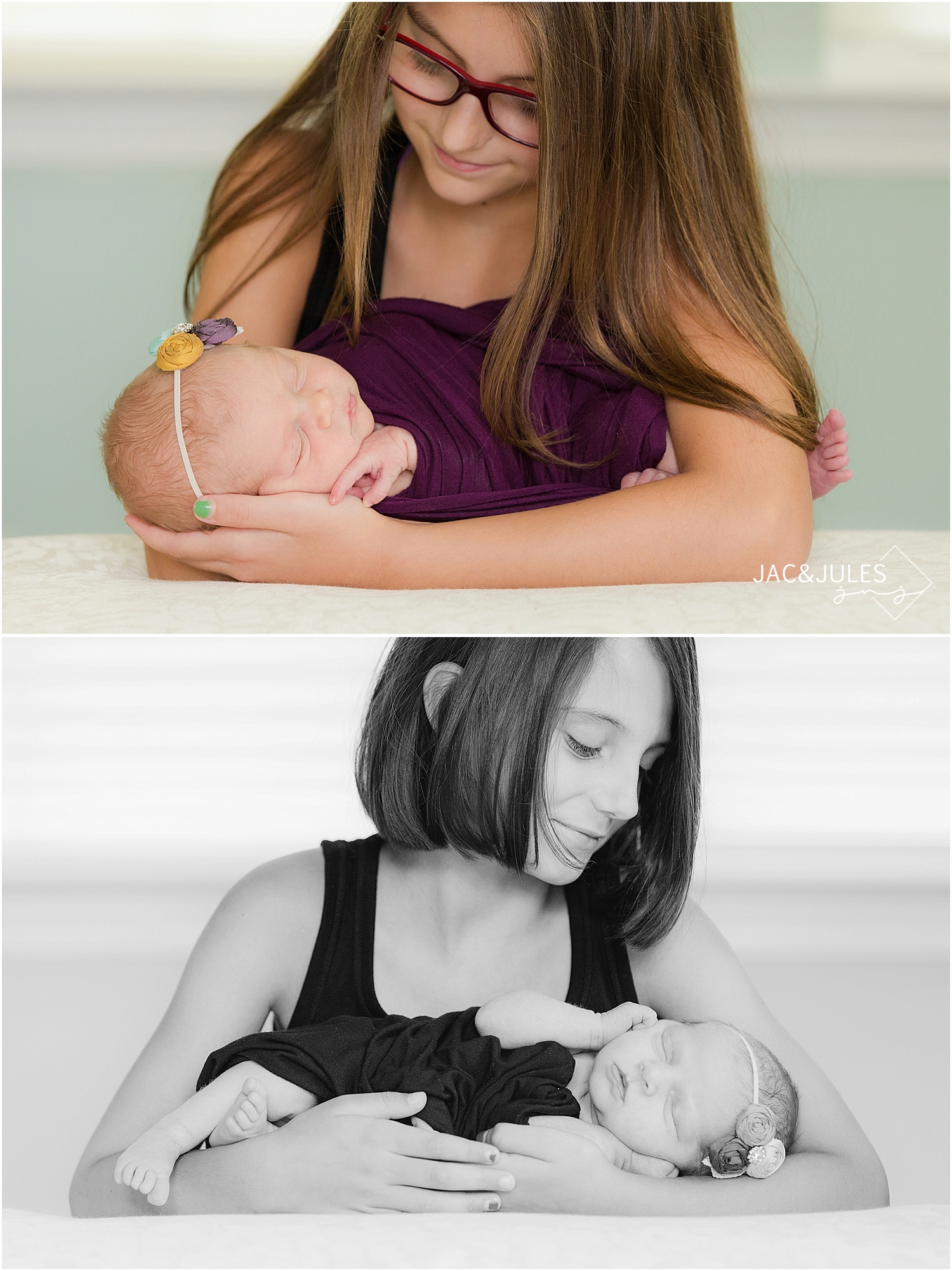 jacnjules photographs newborn baby girl and her family at their home in barnegat nj