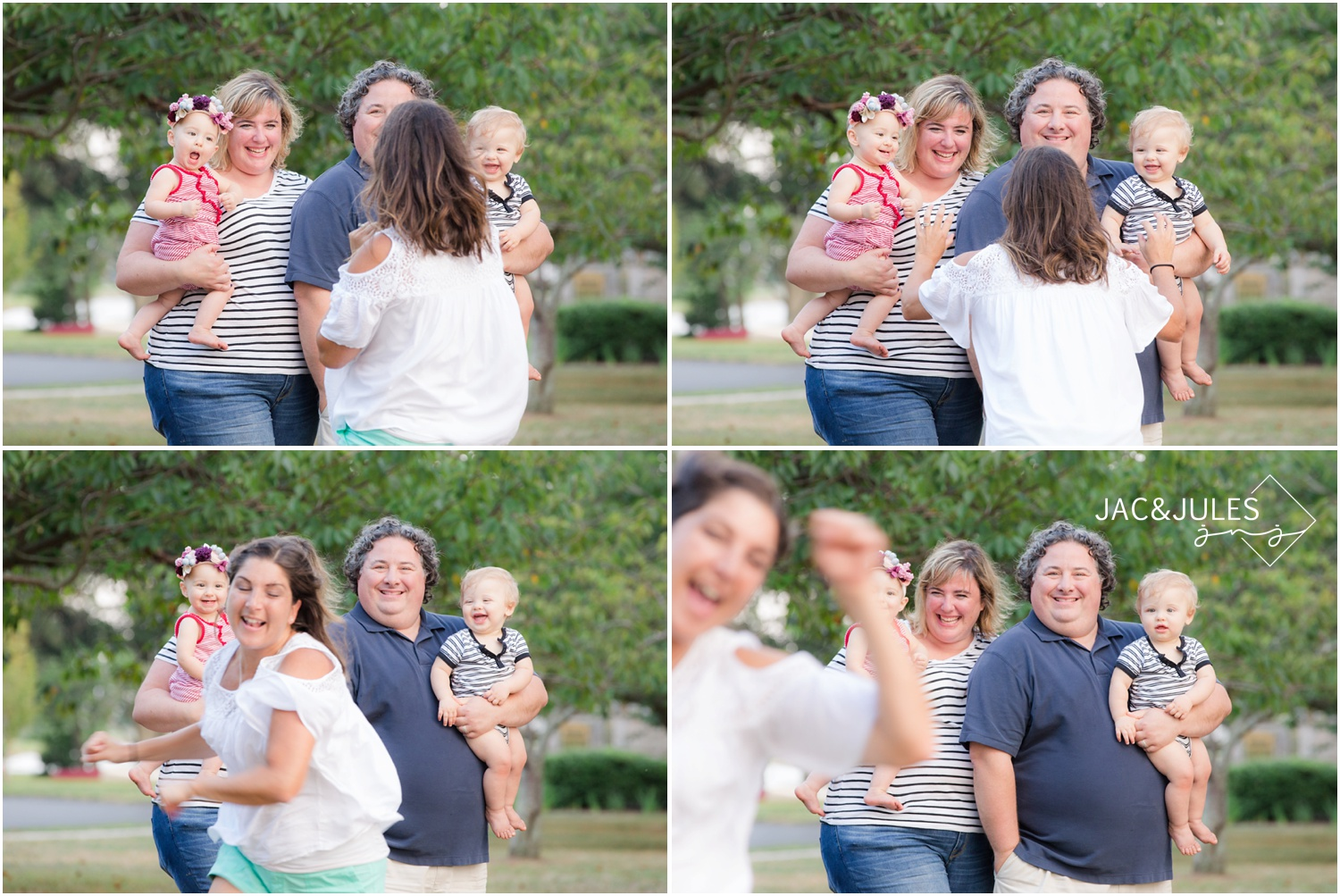 behind the scenes of photographer gaining expressions during a family photo session