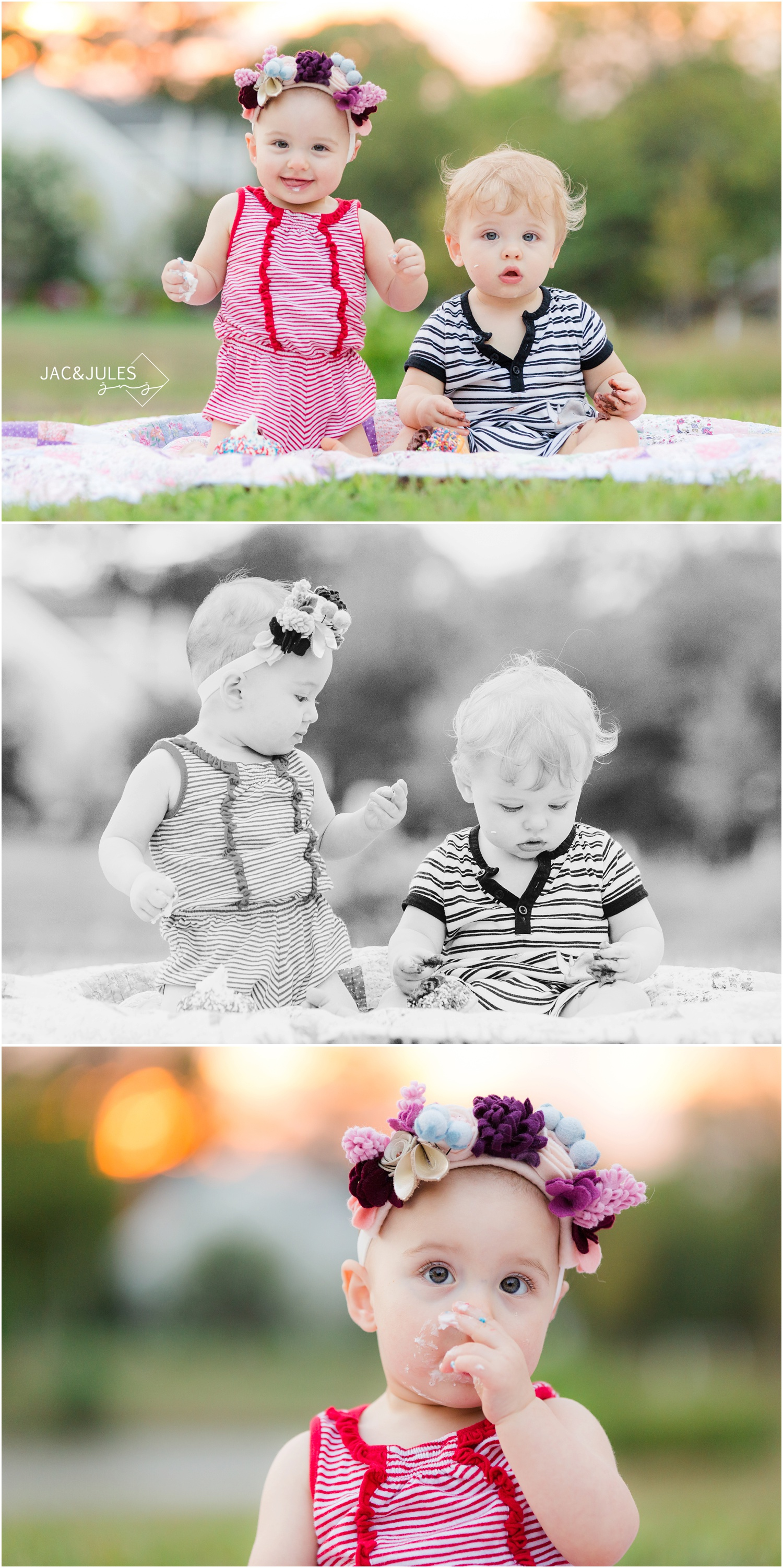 twins first birthday cake smash photos in Spring Lake, NJ
