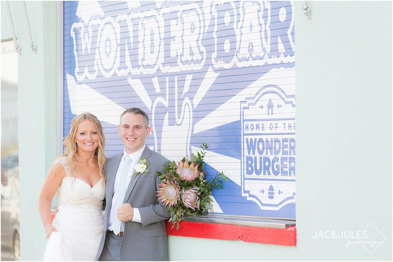 jacnjules photographs gorgeous bride and groom at Wonder Bar in Asbury Park, NJ