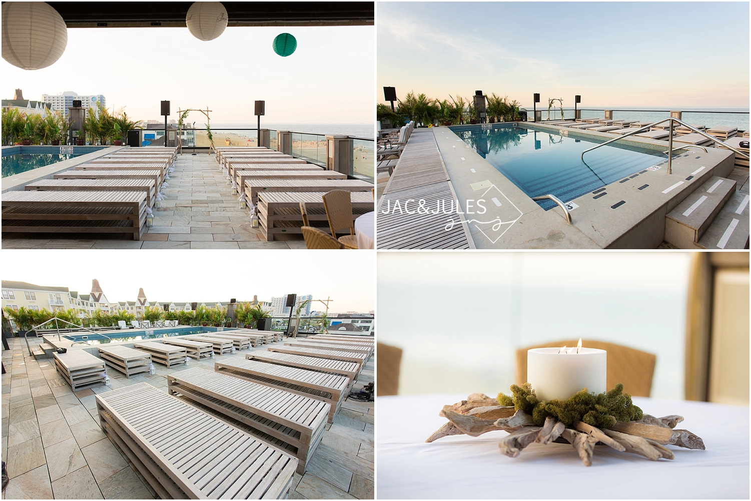 jacnjules photographs wedding ceremony at sunset at Avenue Le Club in Long Branch, NJ