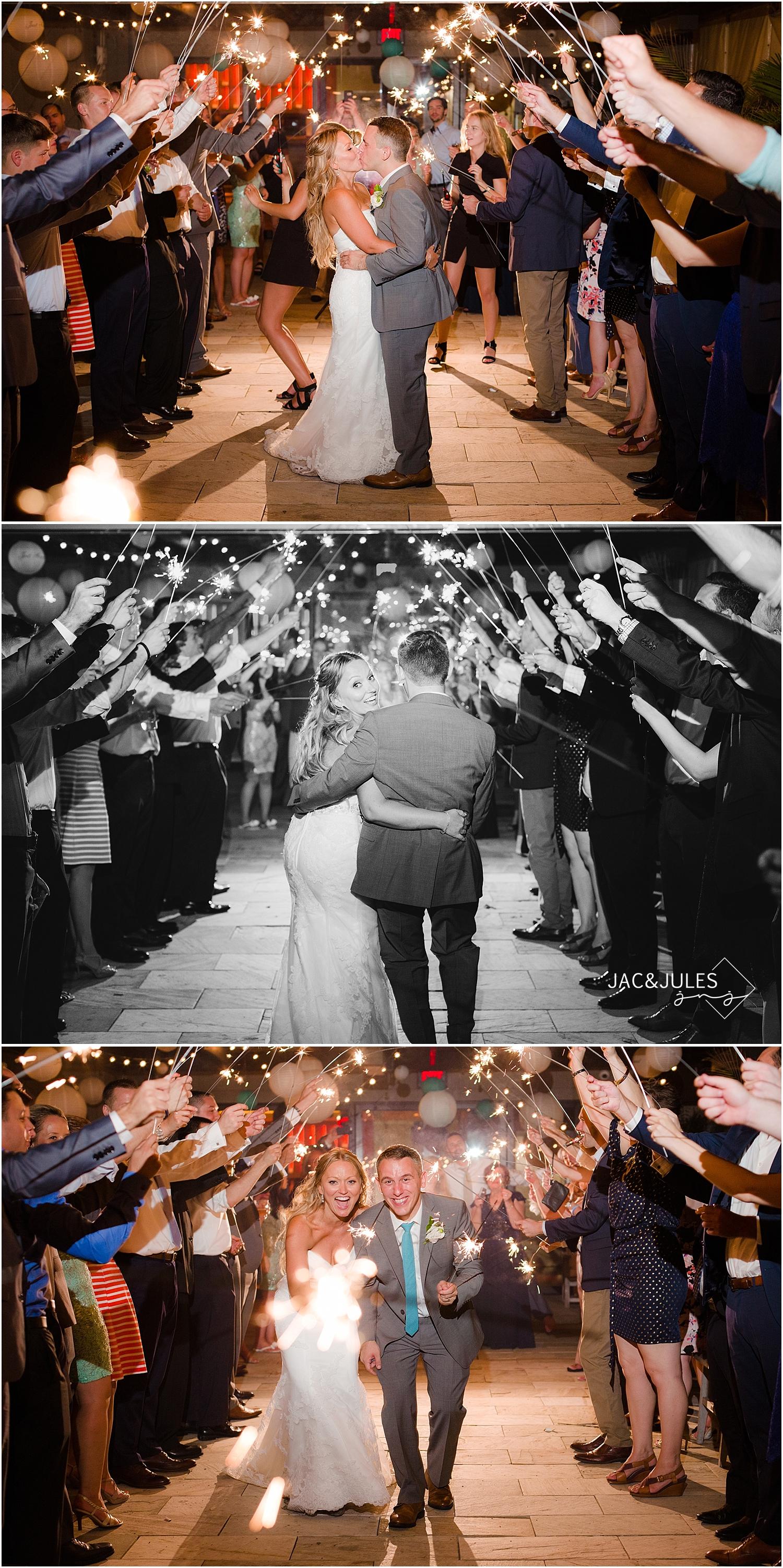 jacnjules photograph a wedding sparkler exit at Le Club Avenue in Long Branch, NJ