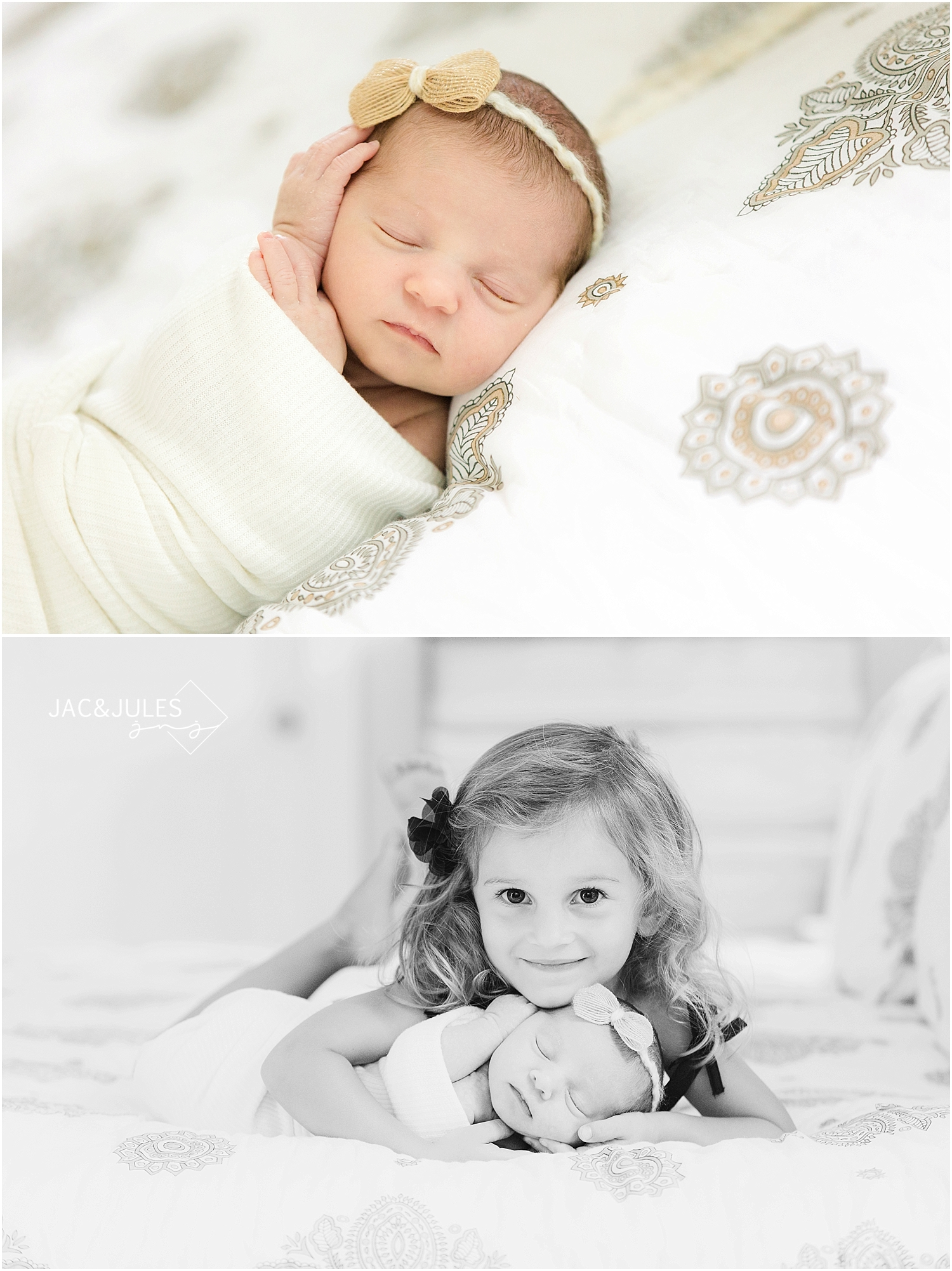 jacnjules photograph a newborn baby girl and her sister in Toms River, NJ