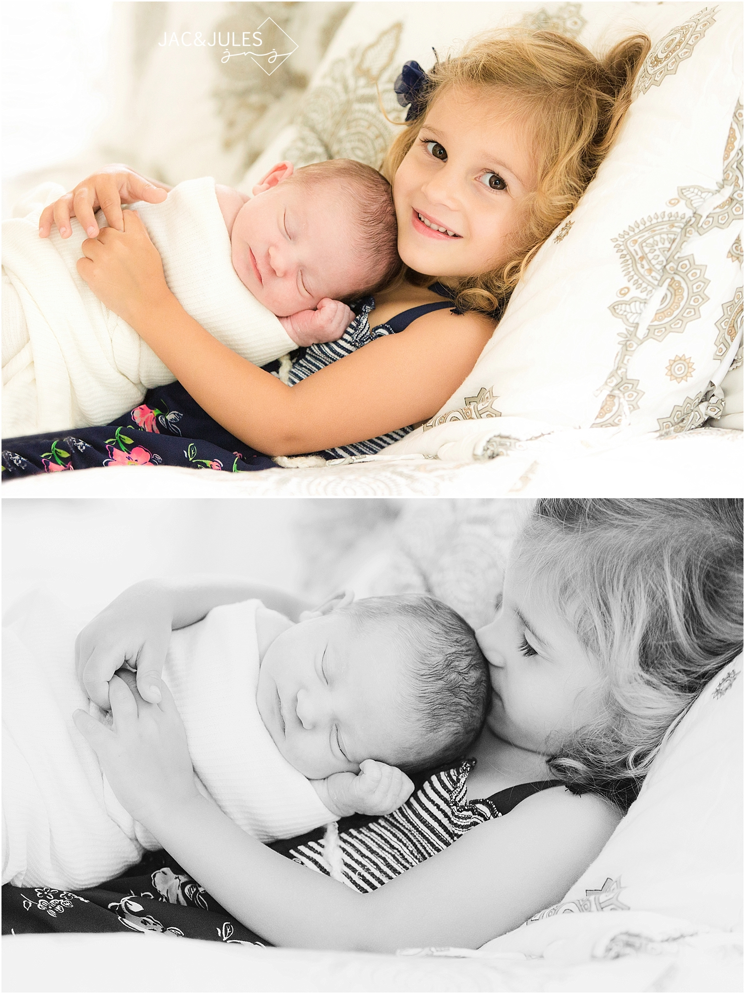 jacnjules takes a photo of a newborn baby girl and her big sister in Toms River, NJ