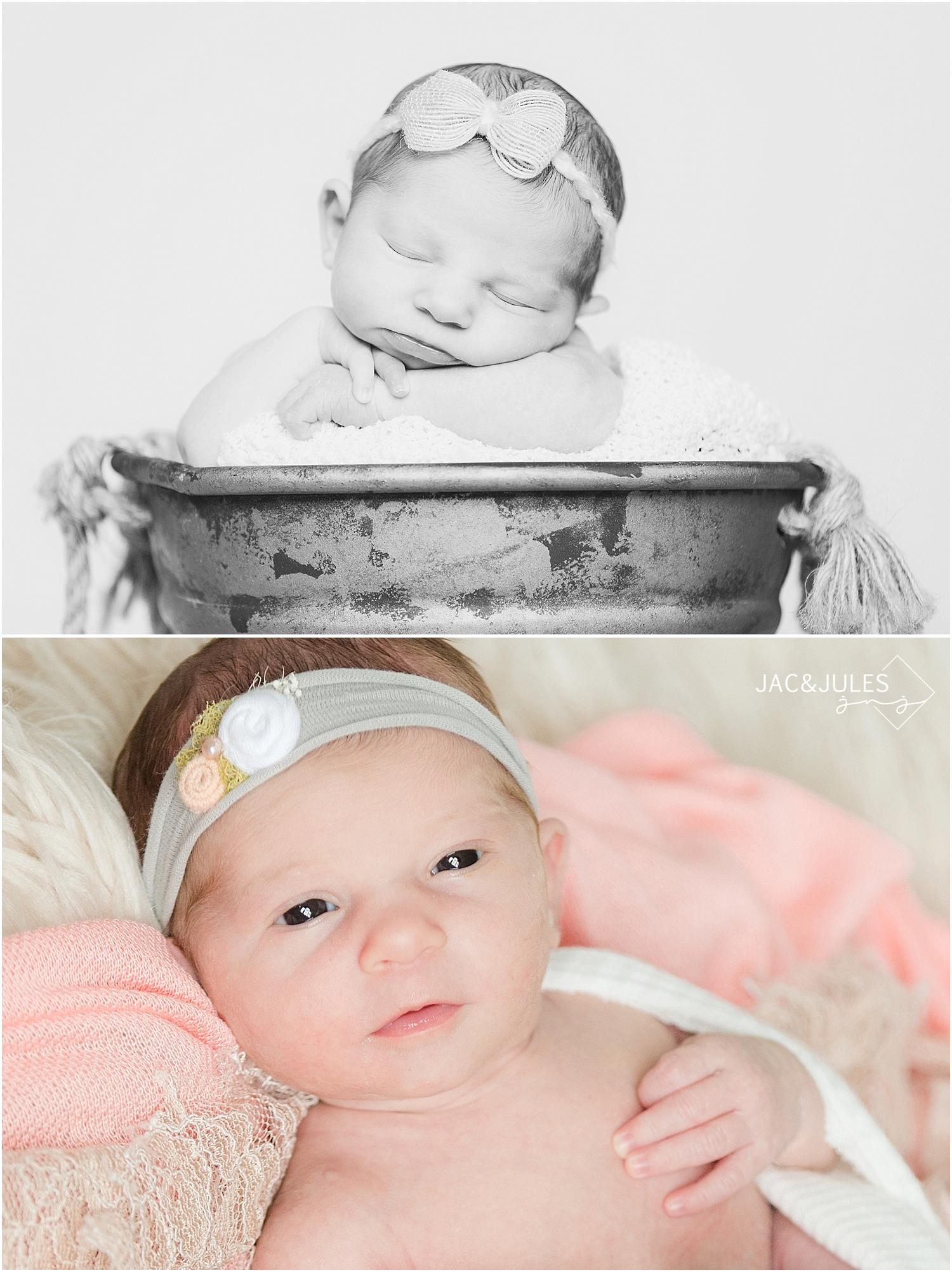 jacnjules photograph a newborn baby girl awake in Toms River, NJ