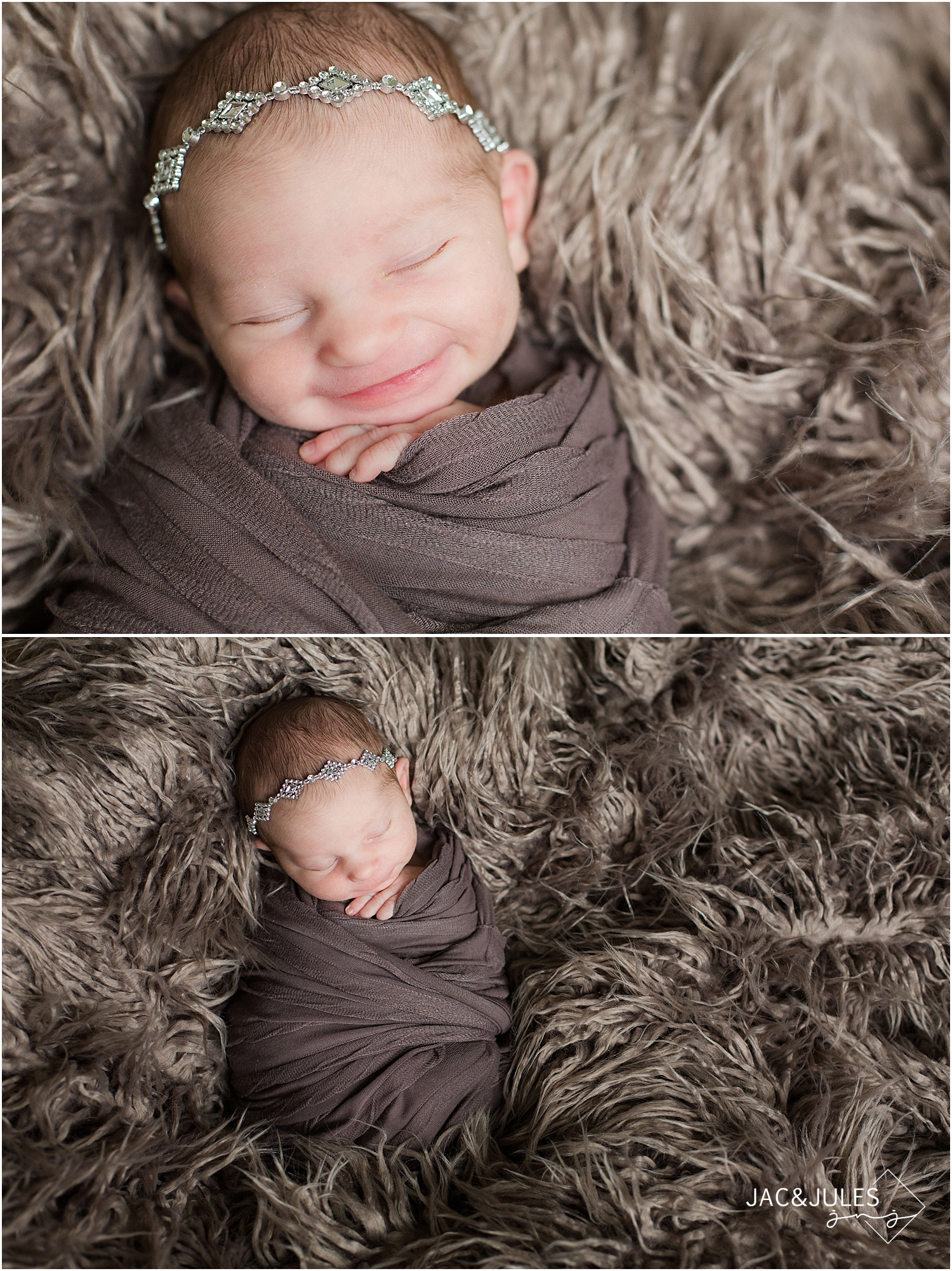 jacnjules photograph a smiling newborn baby girl in Toms River, NJ