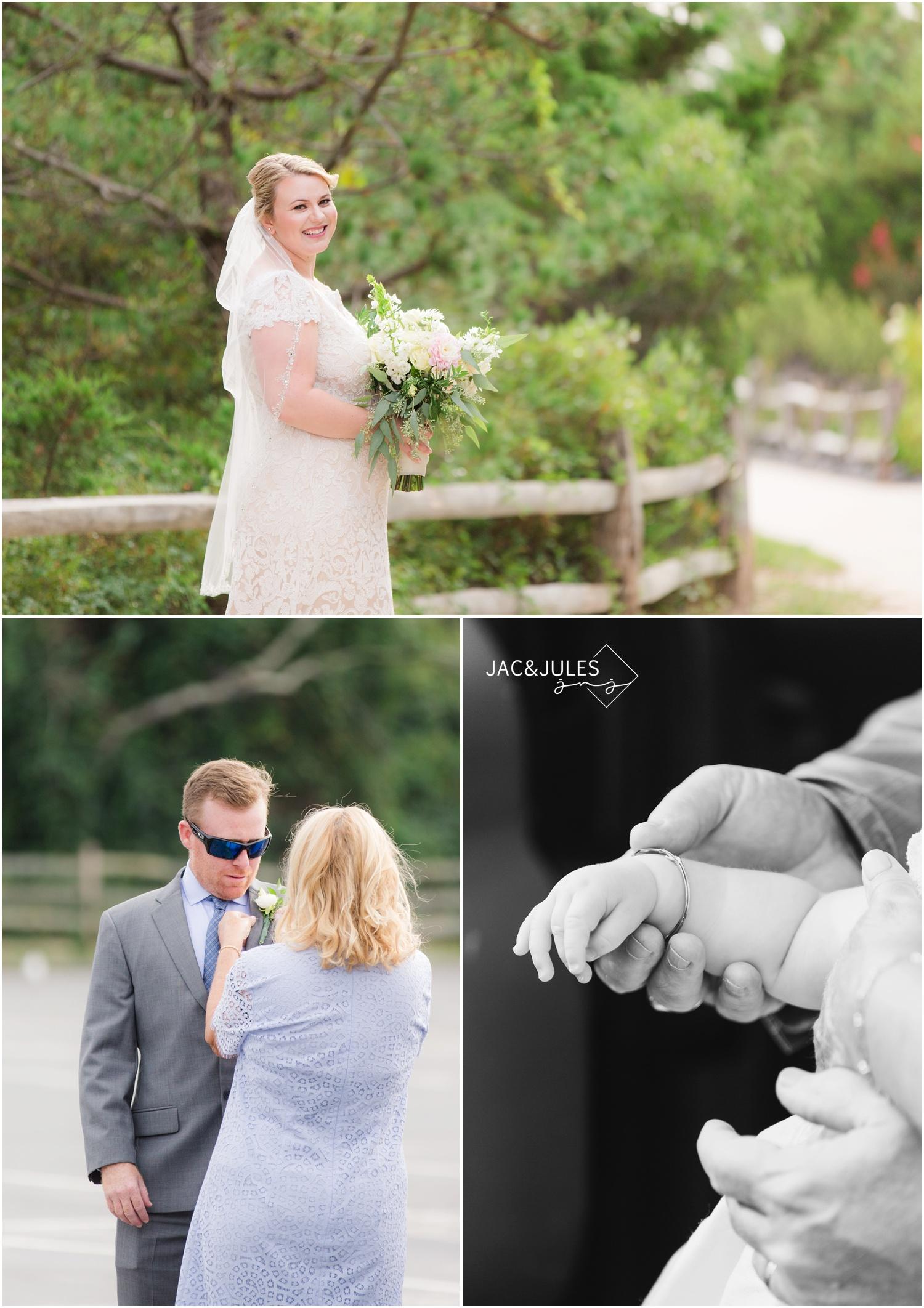 bride groom and flower girl prep for LBI elopement