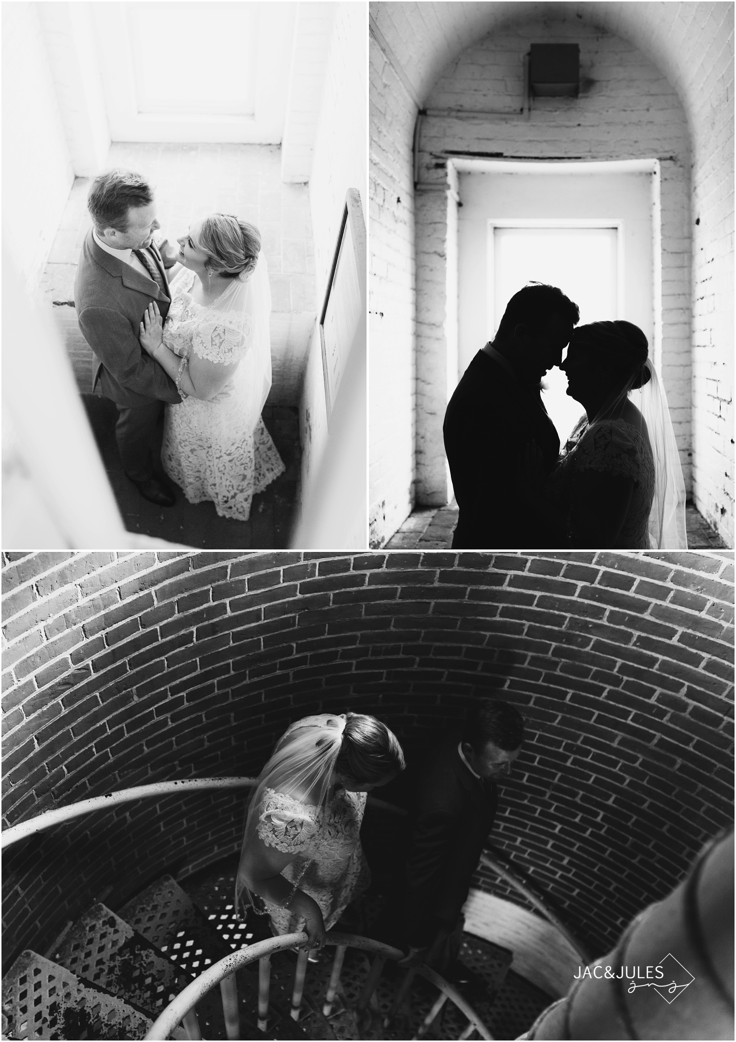 black and white photos of bride and groom inside the barnegat lighthouse