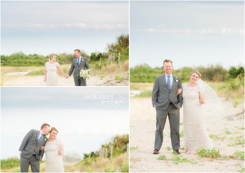 bride and groom photos on the beach at barnegat lighthouse in Long Beach Island, NJ