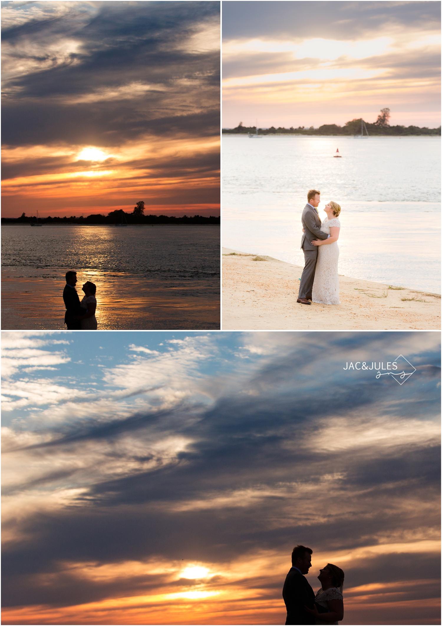 bride and groom sunset photos on the beach at barnegat lighthouse in Long Beach Island, NJ