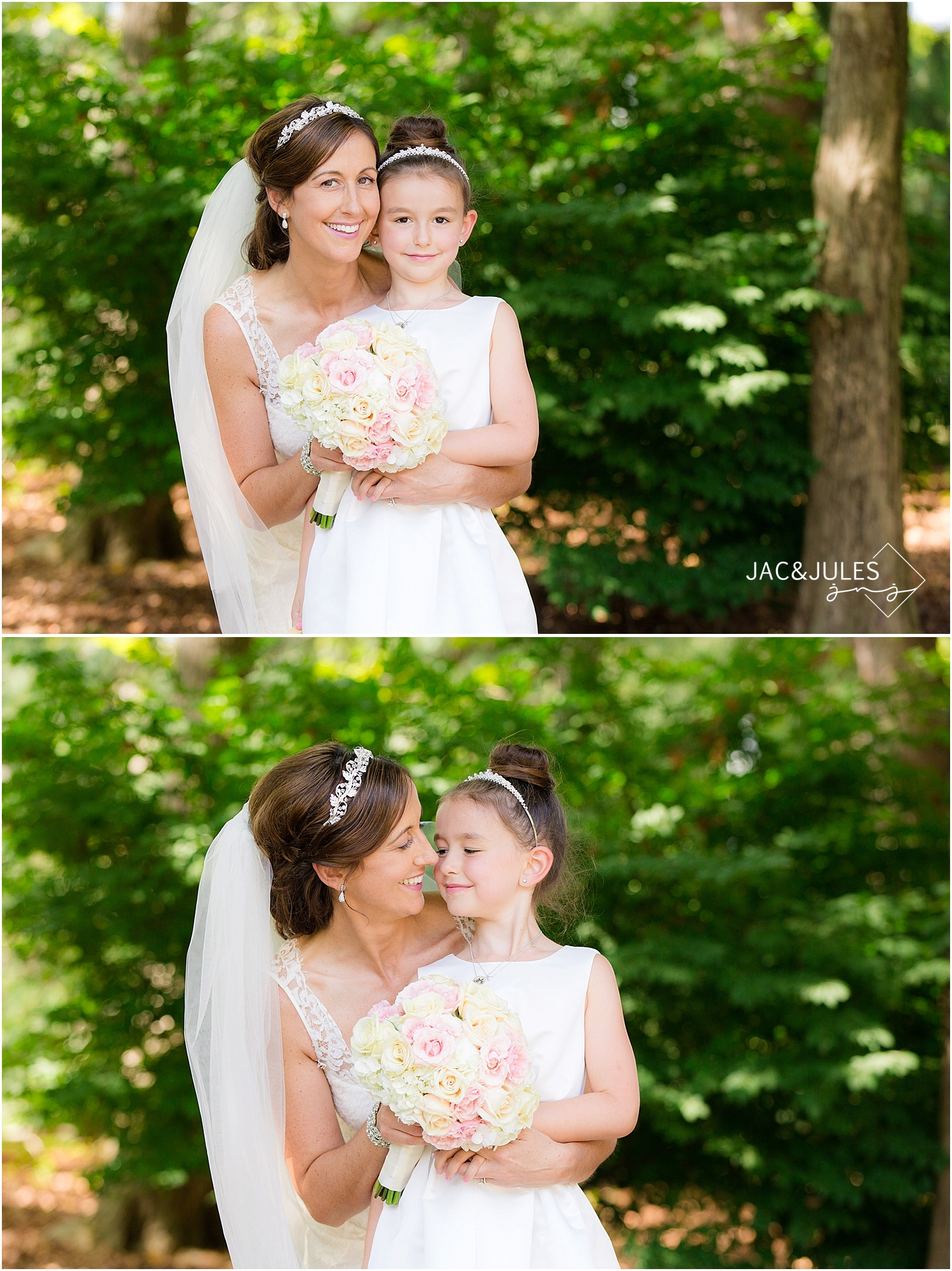 jacnjules photographs the bride and the flower girl at a wedding at Grounds for Sculpture in Hamilton, NJ