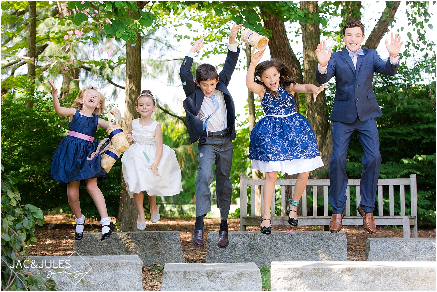 jacnjules takes a fun photo of the kids at a wedding at Grounds for Sculpture in Hamilton, NJ