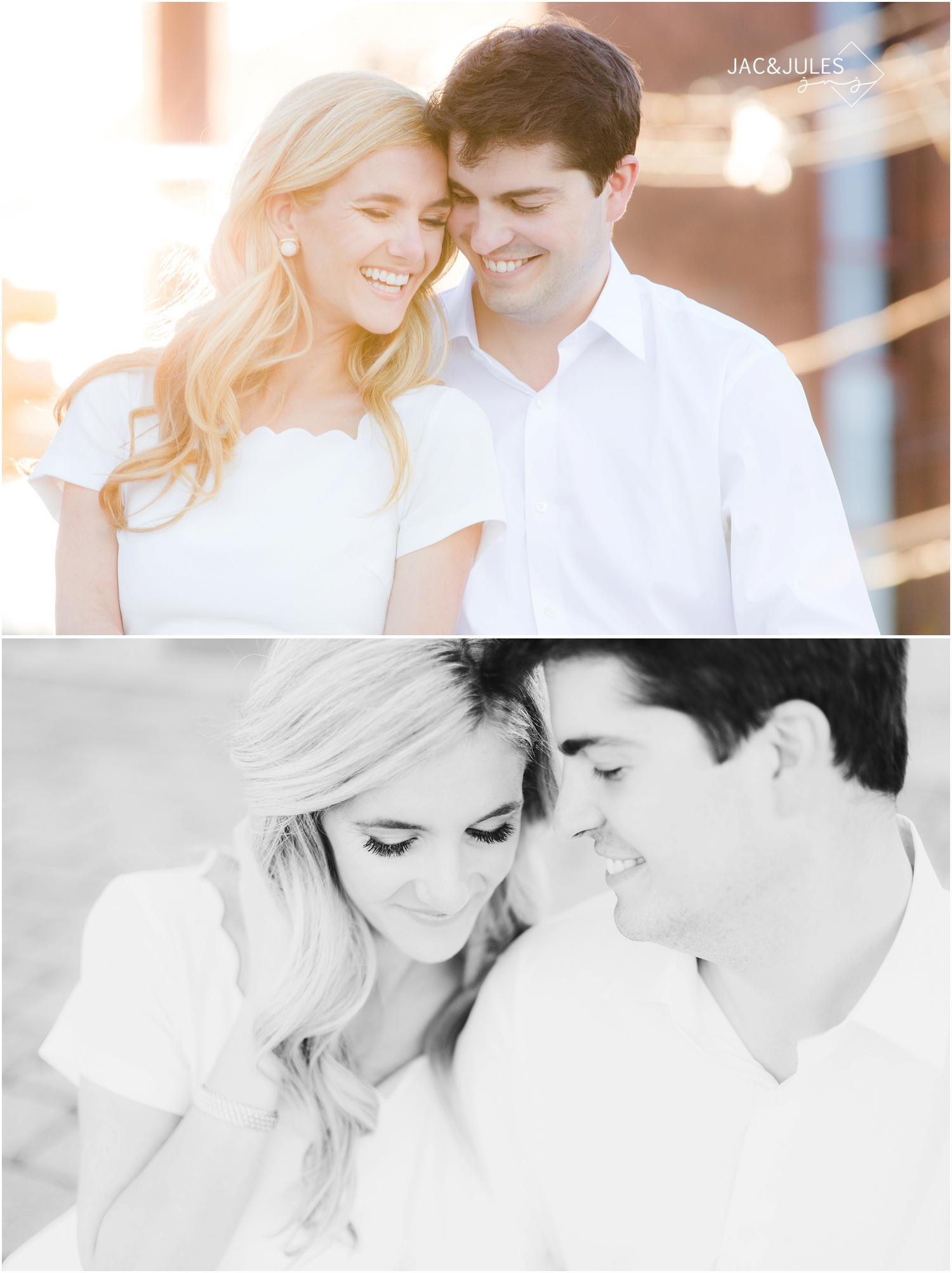 close up intimate engagement photos on a bench in hoboken, nj.