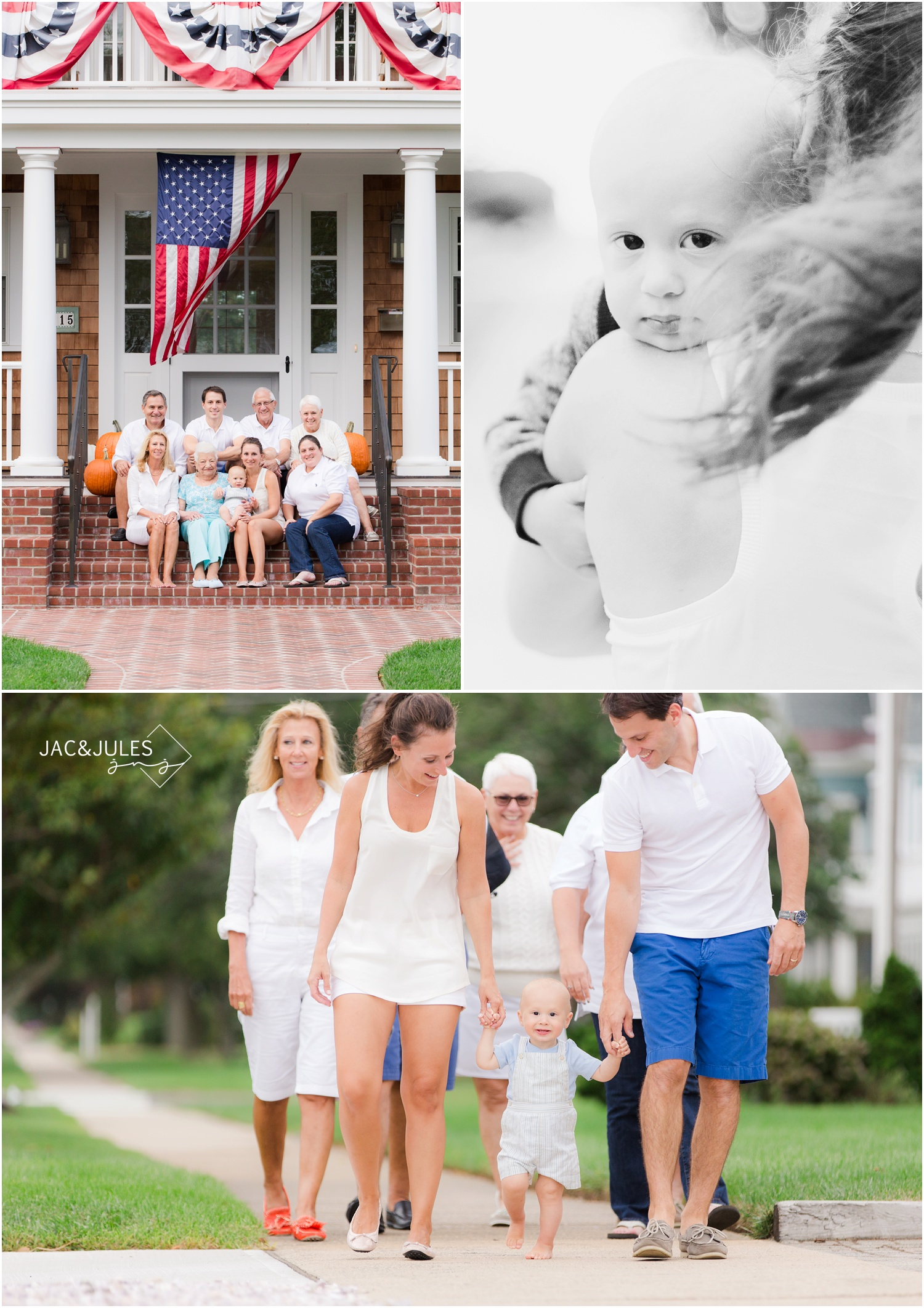Patriotic family photo on the front porch in Sea Girt, NJ.