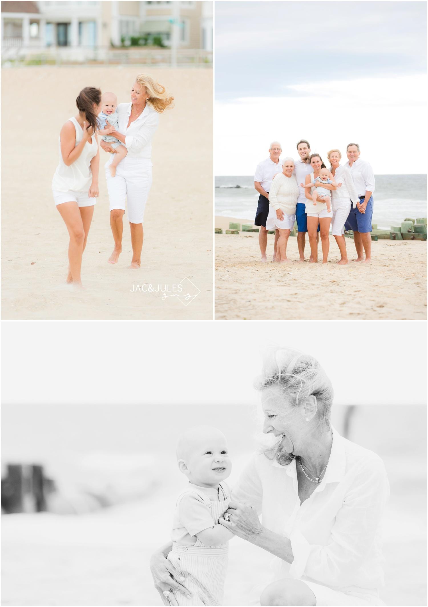 Family photos with grandparents on the beach in Sea Girt, NJ.