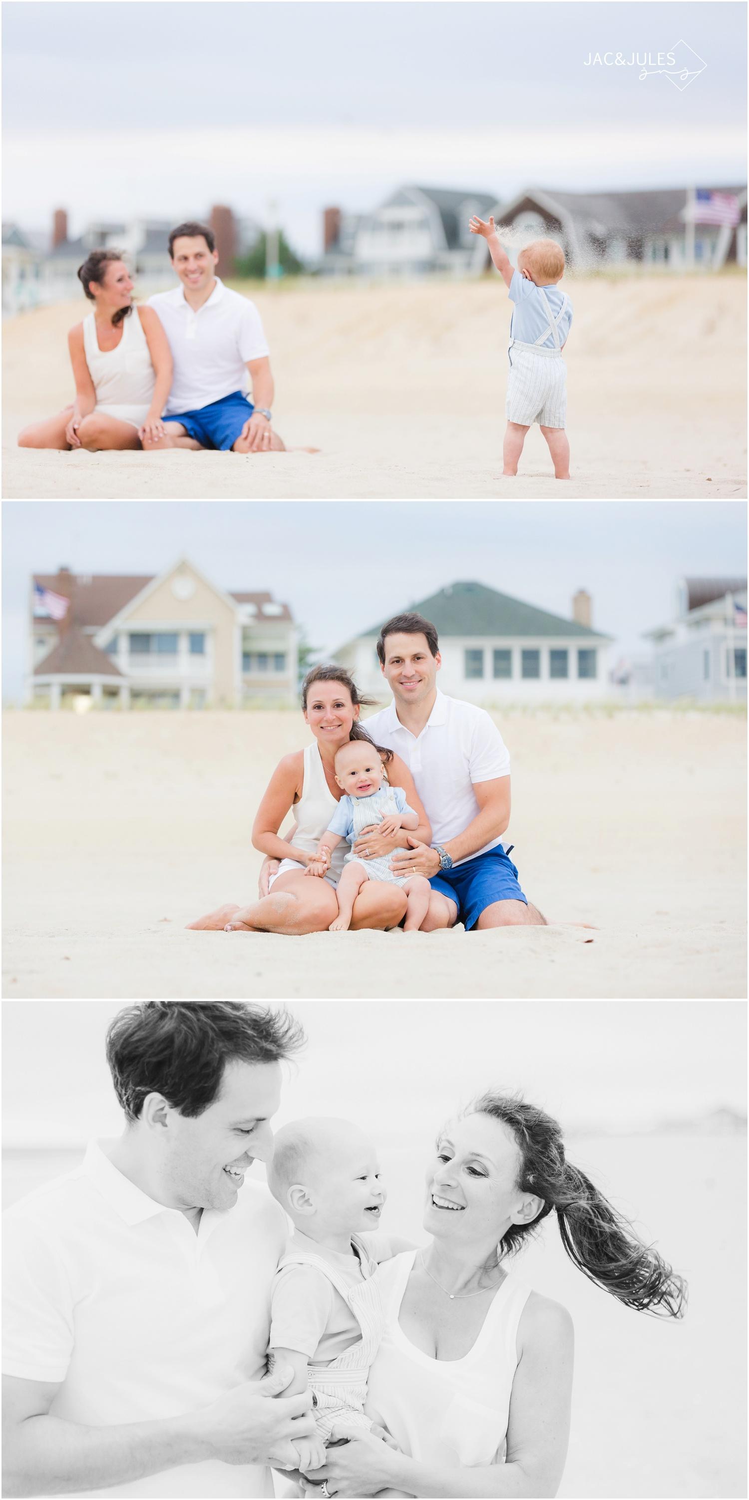 Family photos on the beach in Sea Girt, NJ.