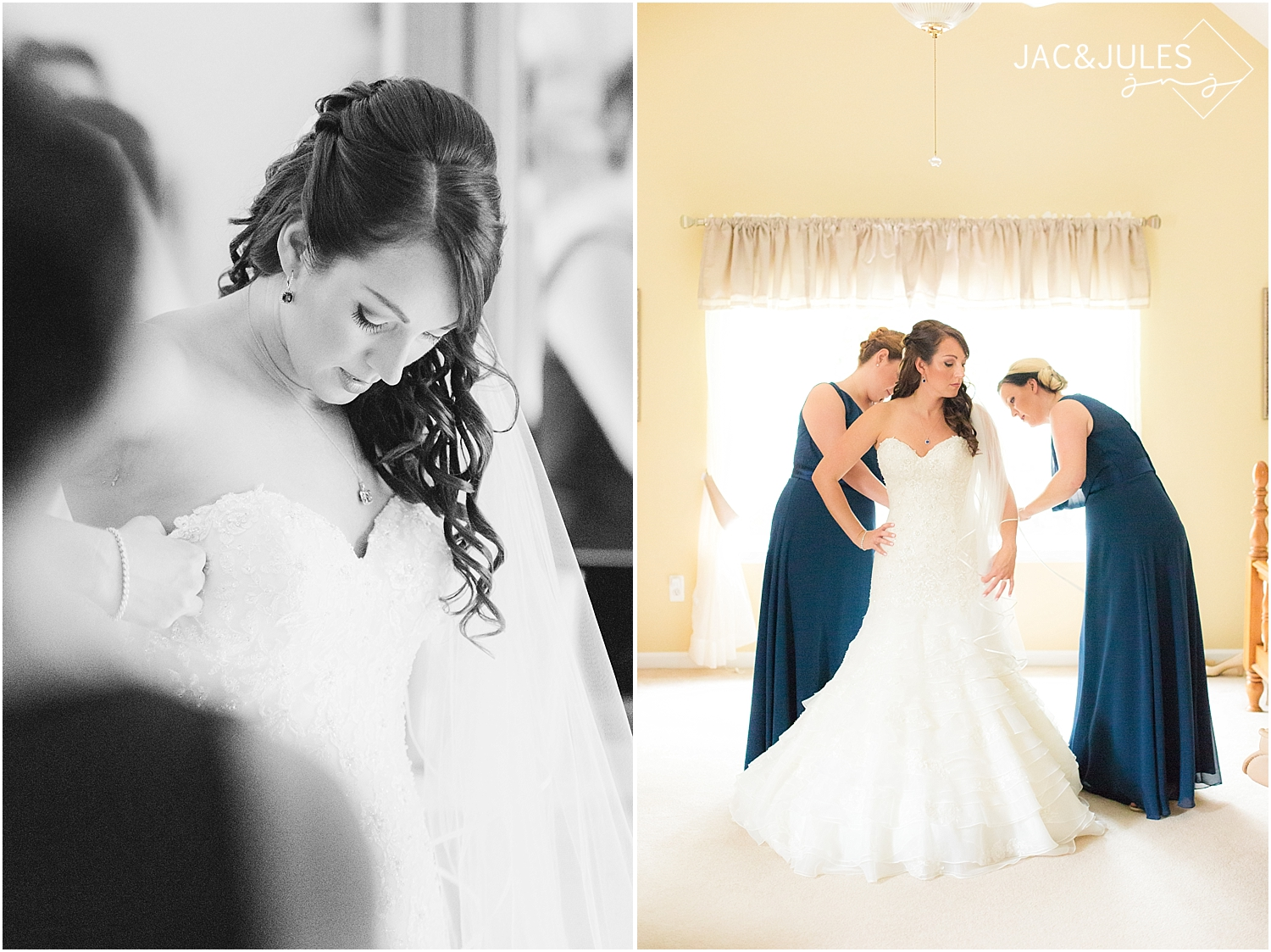 jacnjules photograph a bride getting ready for her wedding in Manahawkin, NJ