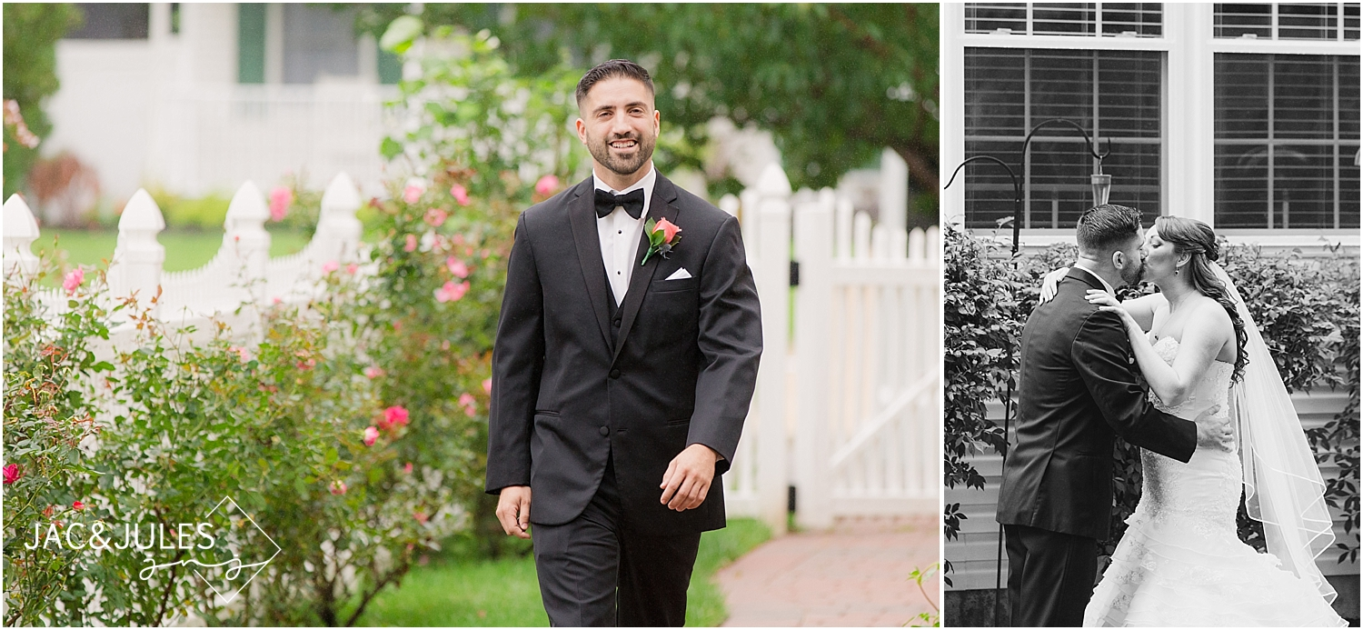 jacnjules photograph a first look with a bride and groom in Manahawkin, NJ